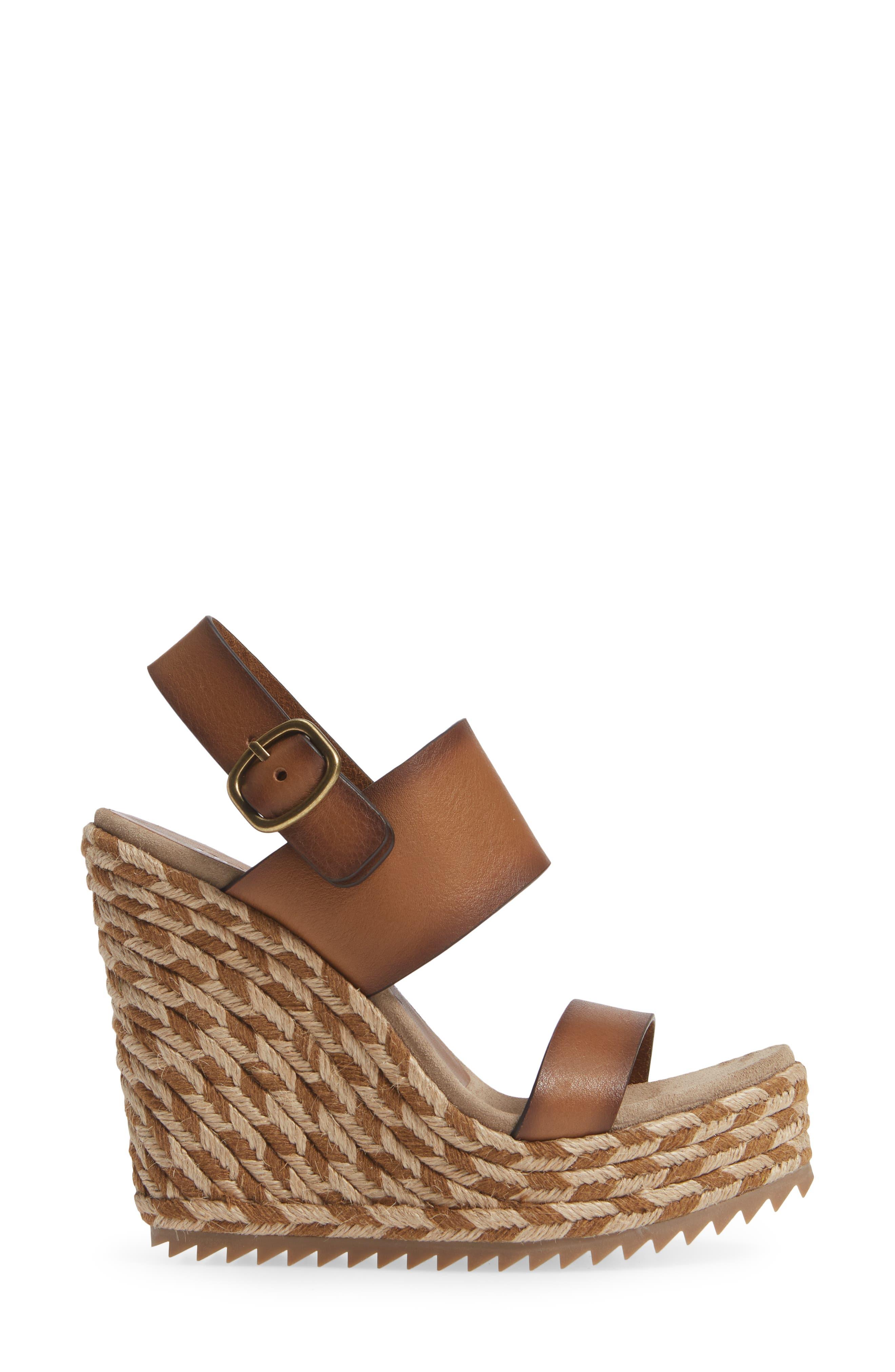 Tait Woven Wedge Sandal,                             Alternate thumbnail 3, color,                             CIGAR VACCHETTA
