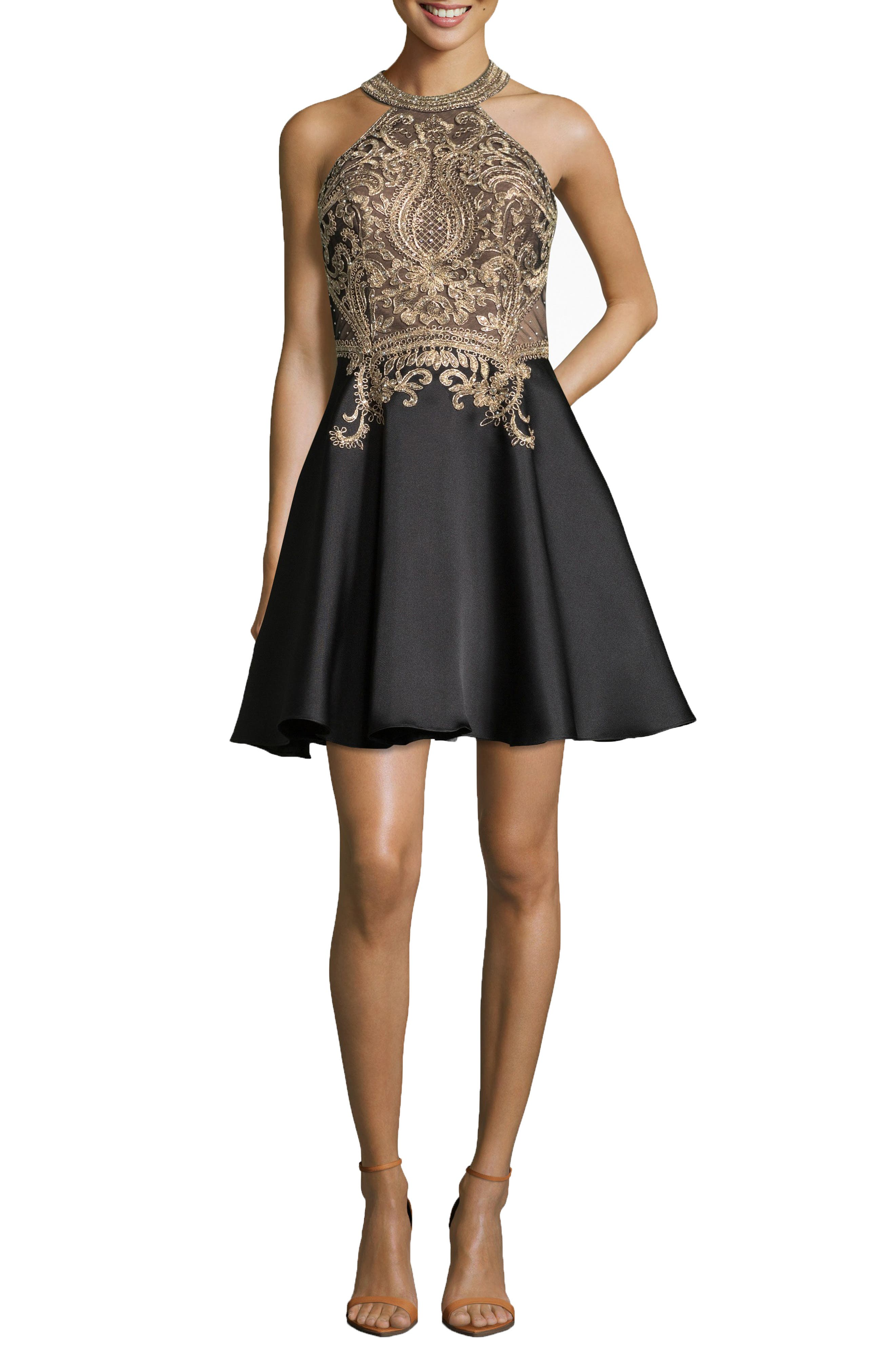 Embroidered Mikado Party Dress,                             Main thumbnail 1, color,                             BLACK/ GOLD
