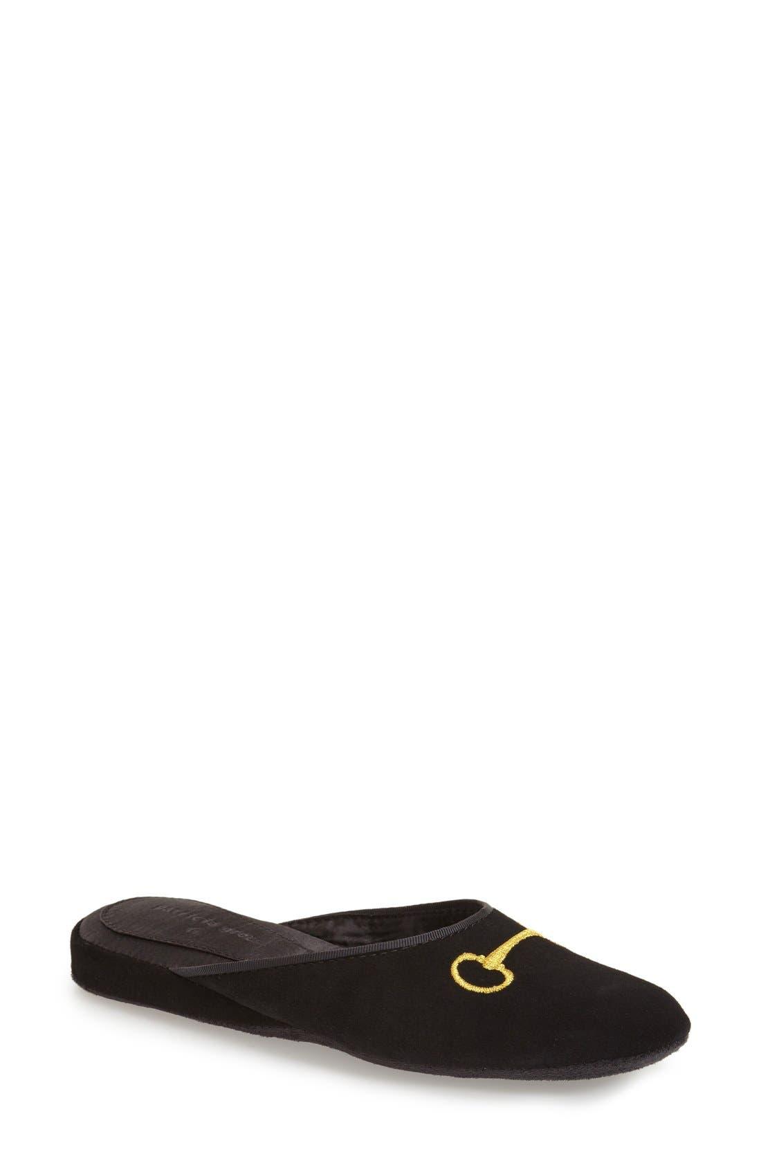 'Milano' Bit Embroidered Slipper,                         Main,                         color, BLACK