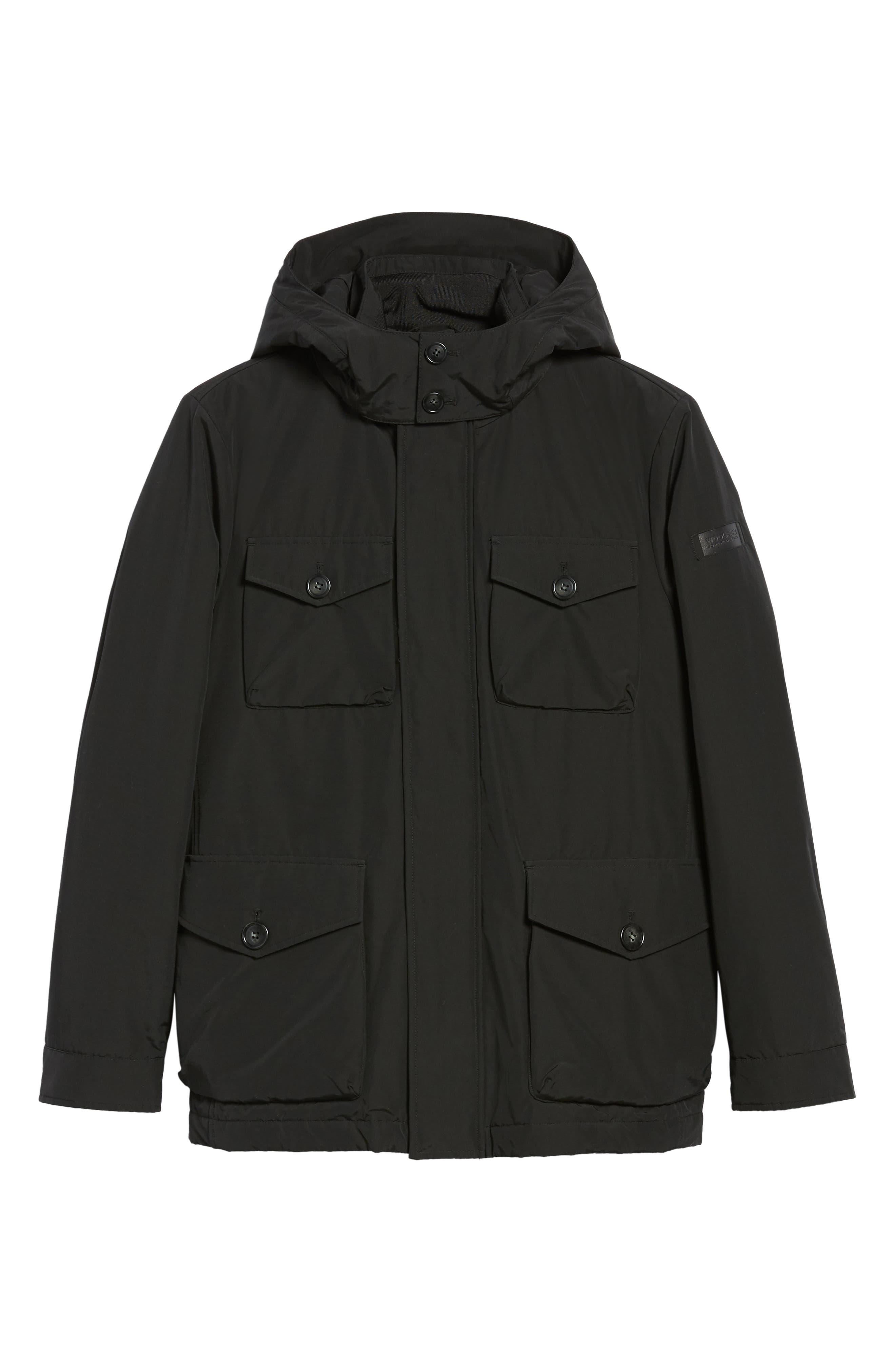 Camou Field Jacket,                             Alternate thumbnail 6, color,                             BLACK
