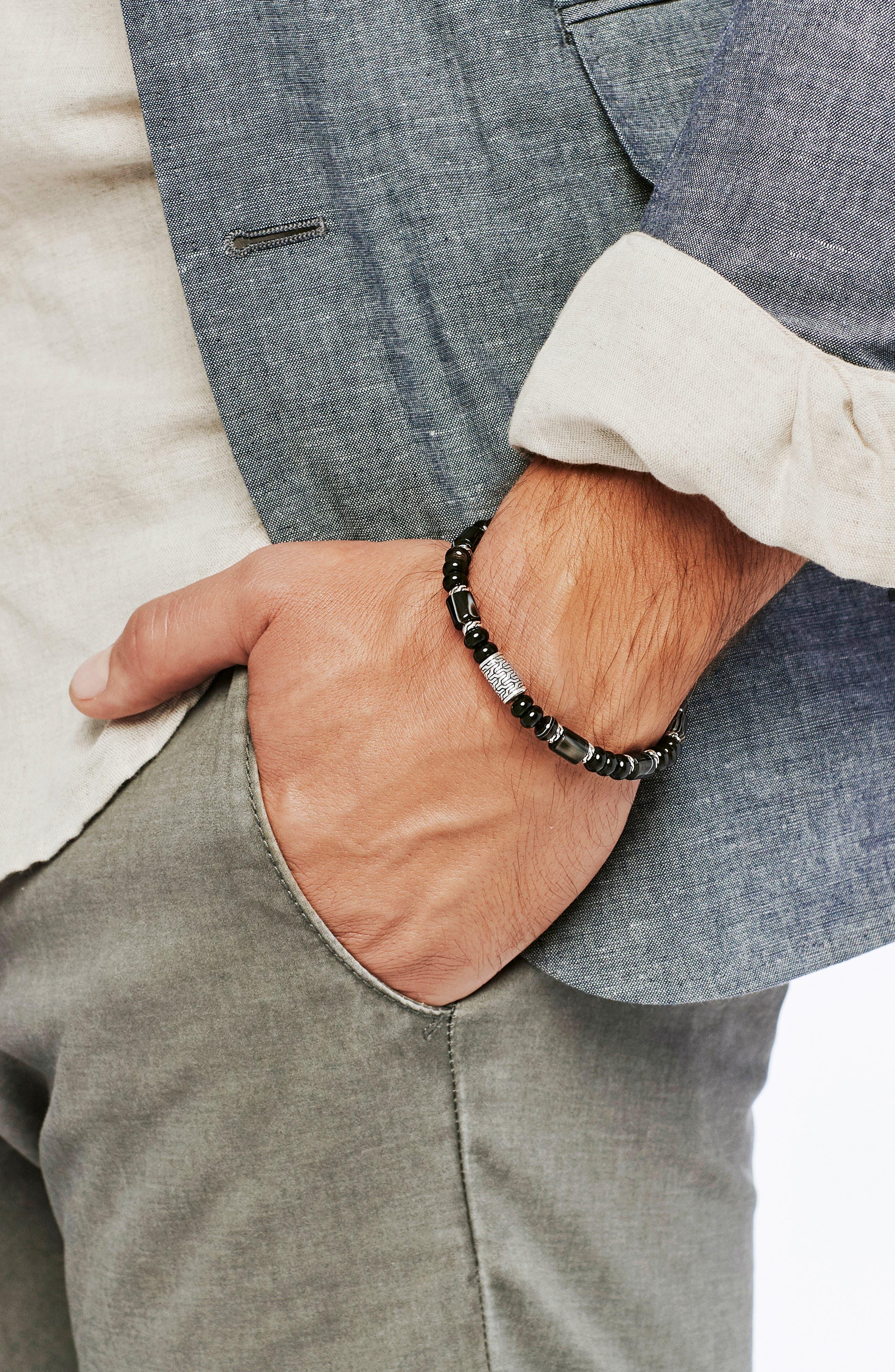 Classic Chain Bead Banded Agate Bracelet,                             Alternate thumbnail 2, color,                             040