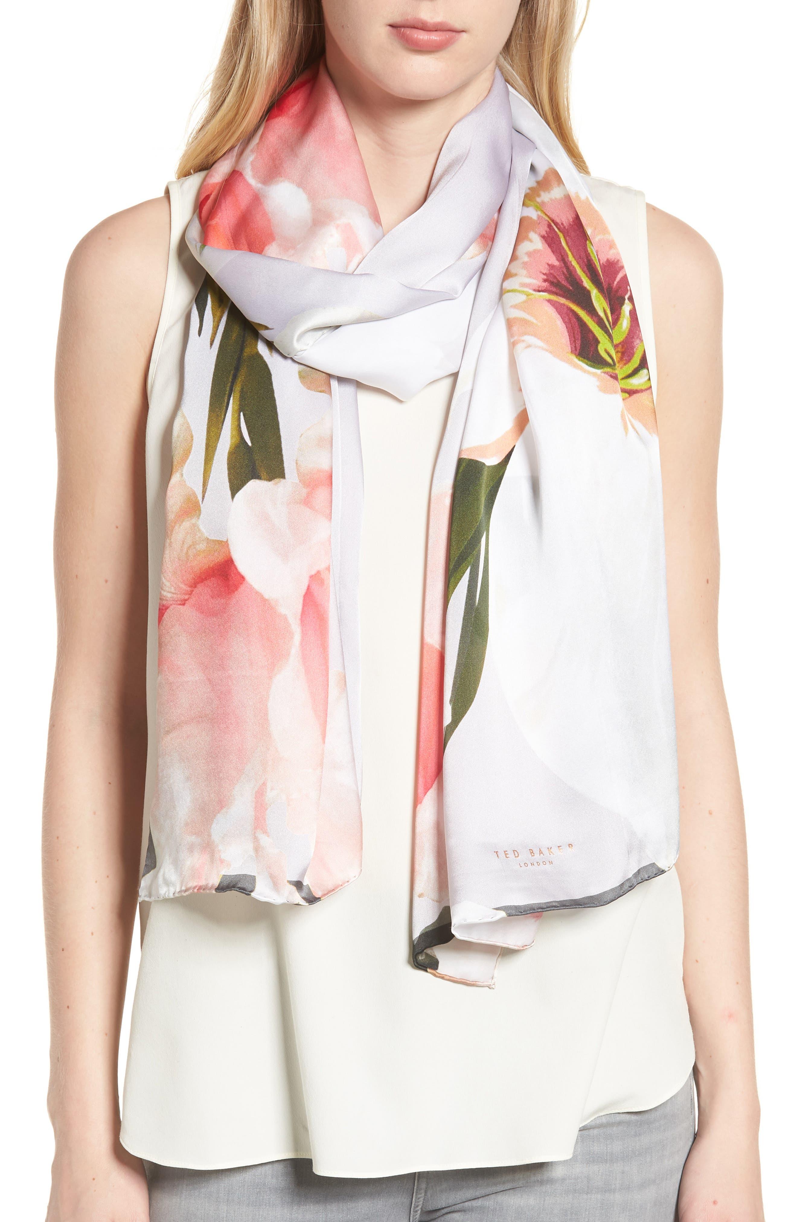 Chatsworth Blossom Silk Scarf,                             Main thumbnail 1, color,