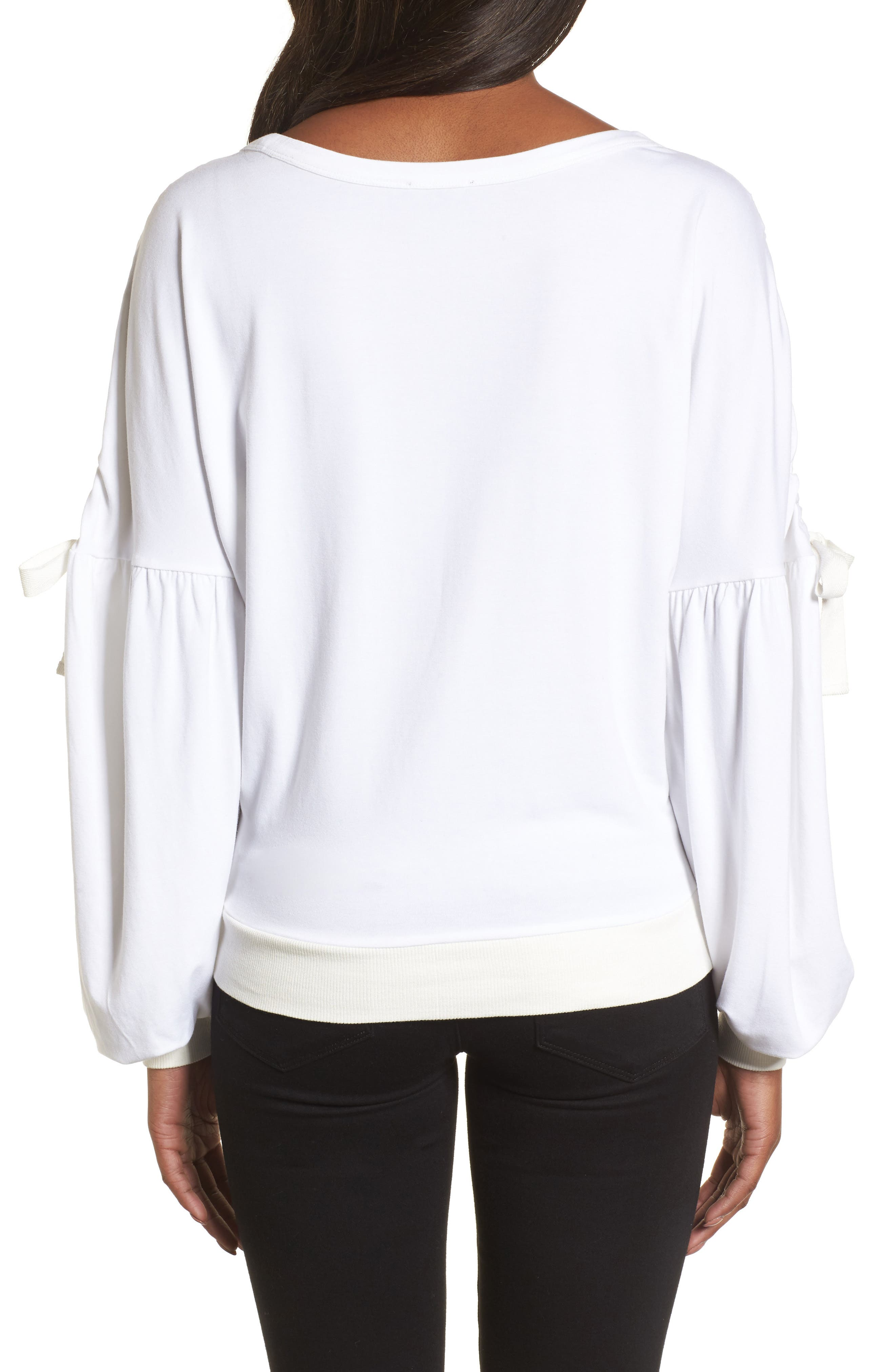 Ruched Bow Sleeve Top,                             Alternate thumbnail 6, color,