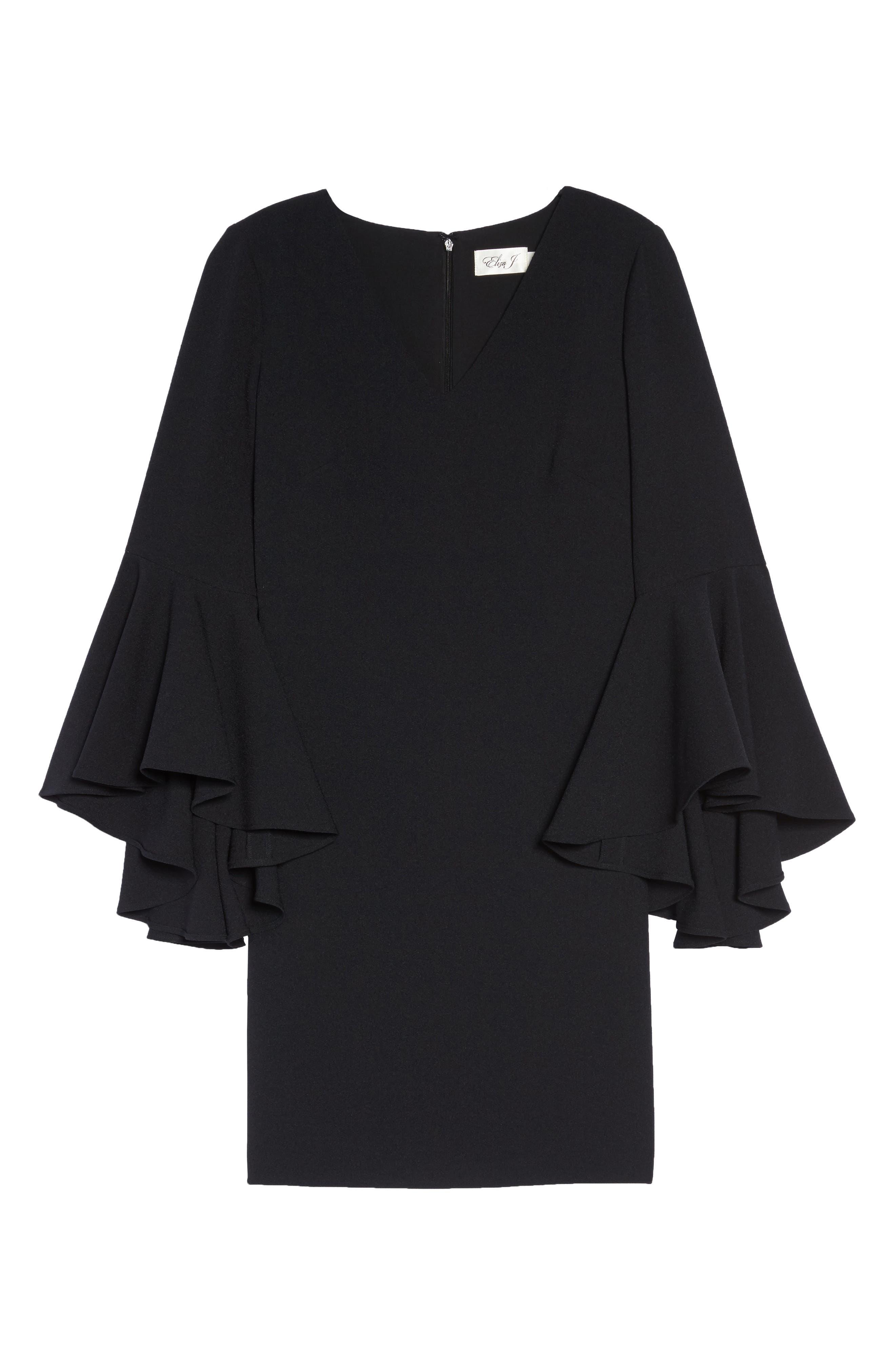 Bell Sleeve Crepe Shift Dress,                             Alternate thumbnail 22, color,