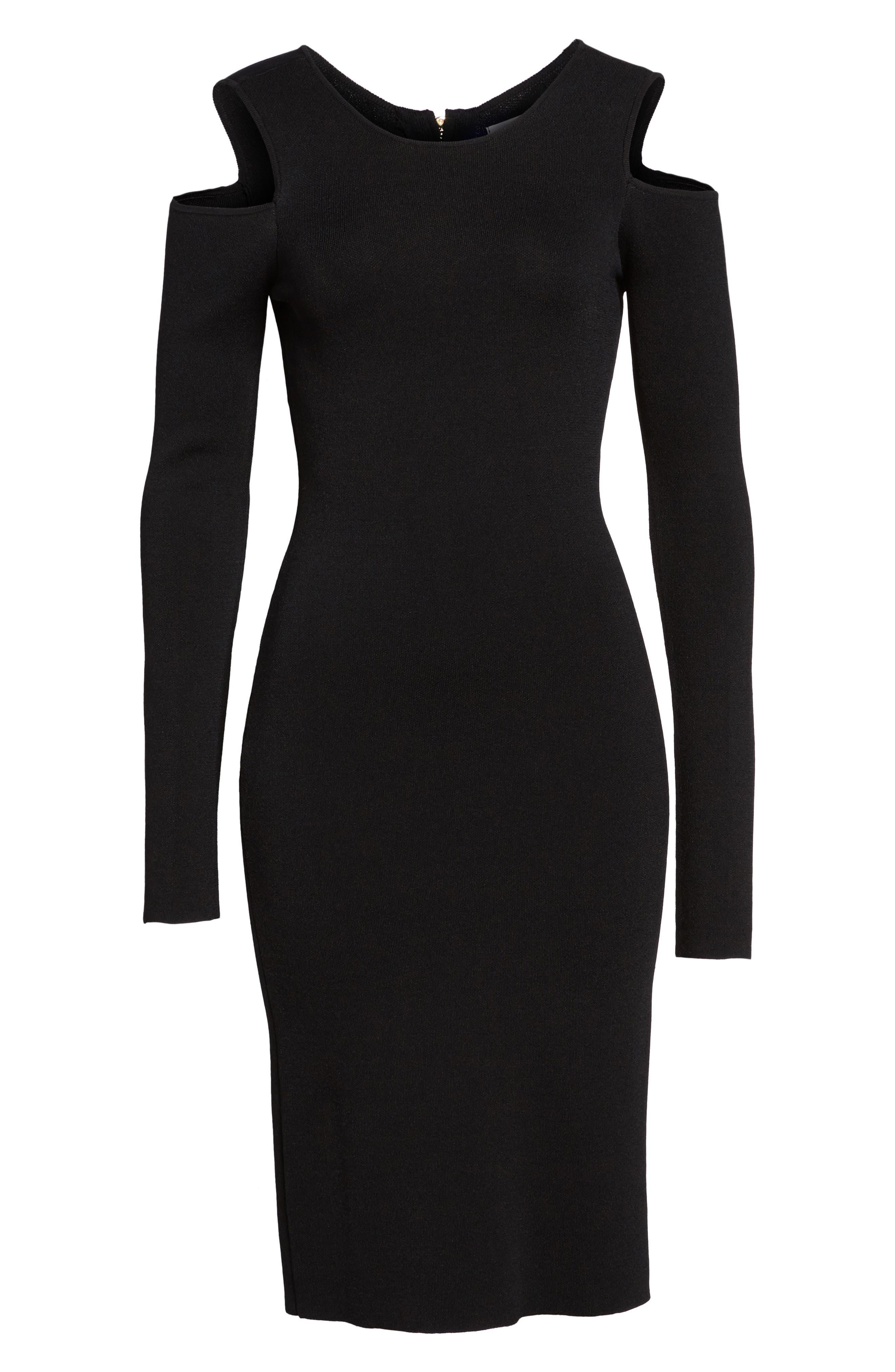 Cold Shoulder Knit Body-Con Dress,                             Alternate thumbnail 4, color,