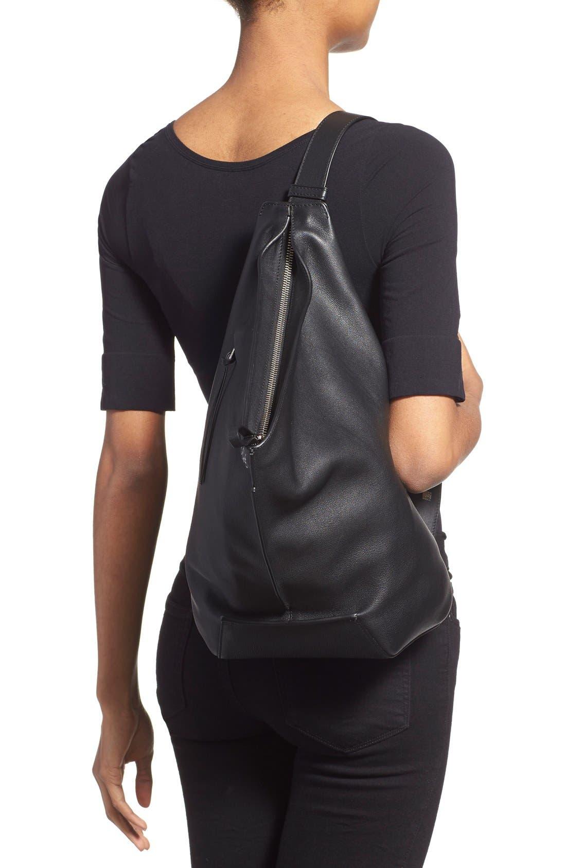 'Small Anton' Calfskin Leather Sling Bag,                             Alternate thumbnail 6, color,                             001