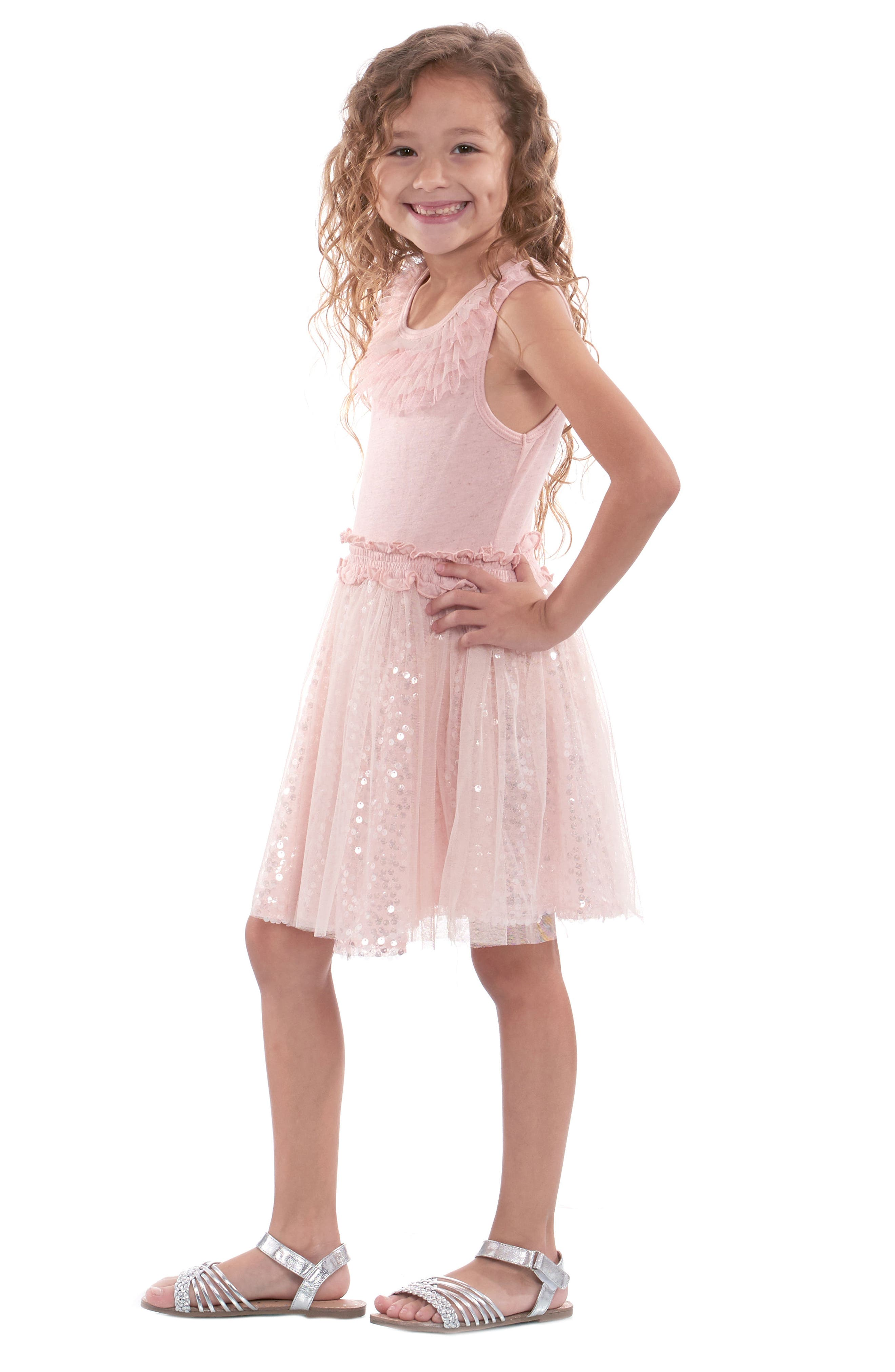 Sequin & Ruffle Dress,                             Alternate thumbnail 5, color,                             680
