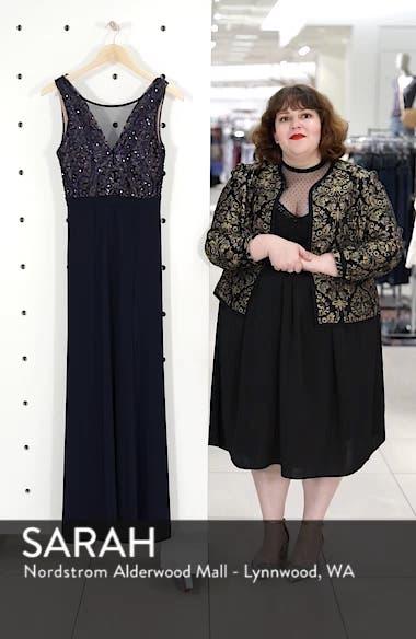 Sequin Bodice Illusion Neck Gown, sales video thumbnail