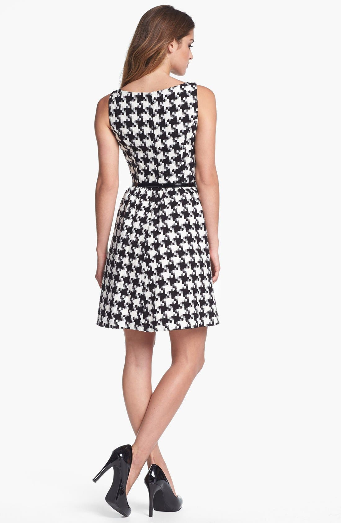 Houndstooth Jacquard Fit & Flare Dress,                             Alternate thumbnail 3, color,