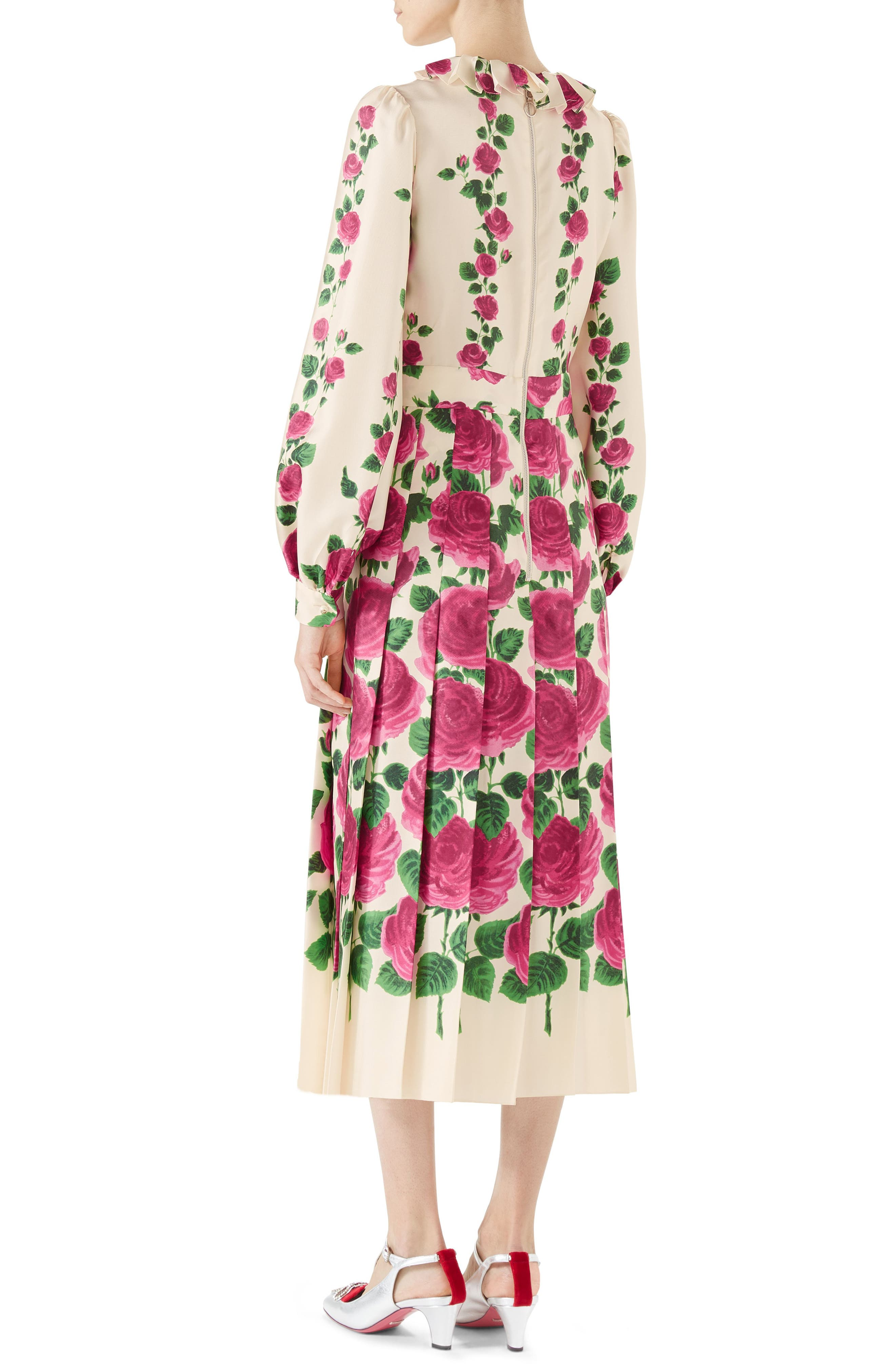 Pleated Rose Print Silk Midi Dress,                             Alternate thumbnail 2, color,                             IVORY PINK