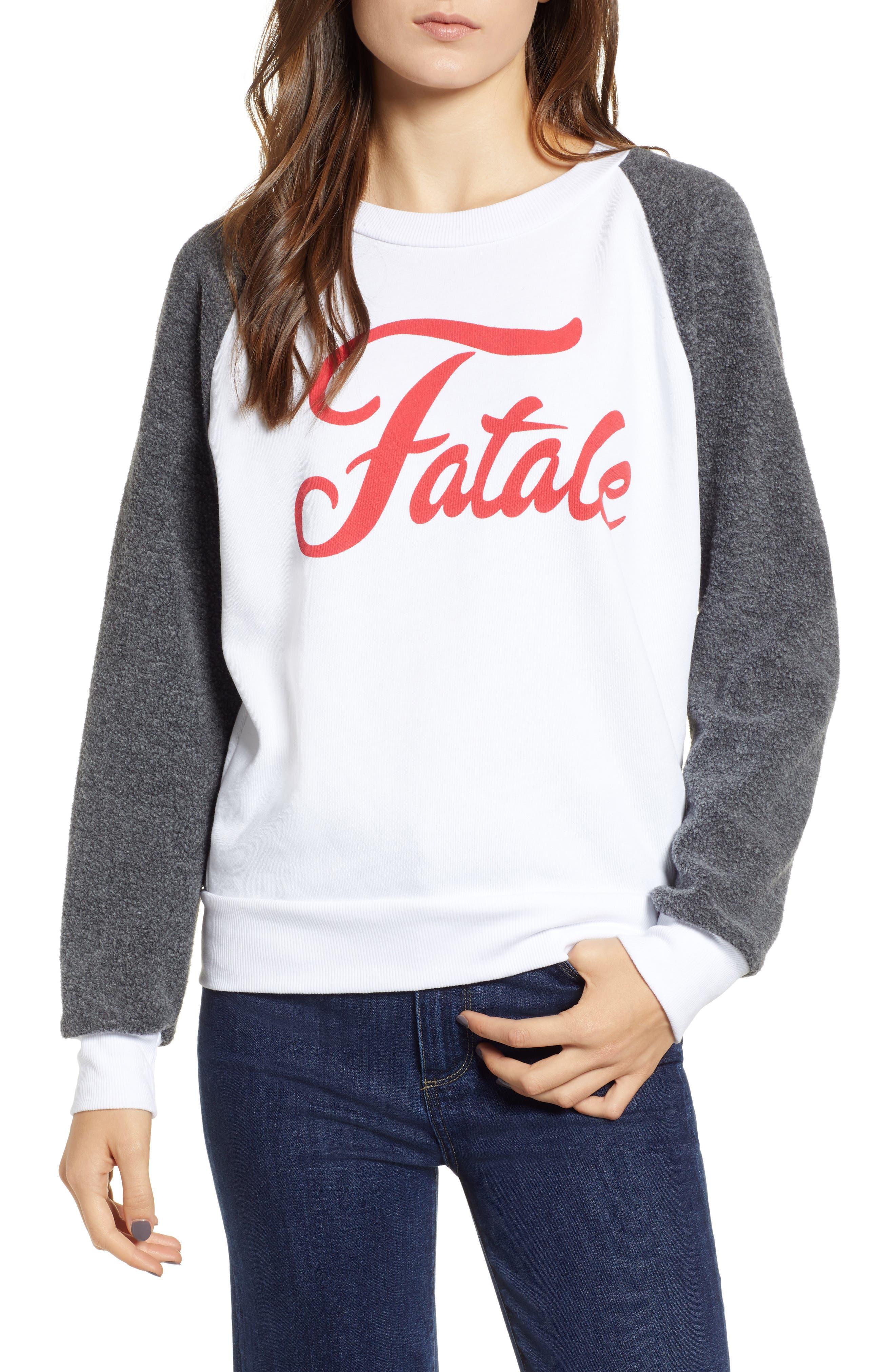 Fatale Fleece Sleeve Sweatshirt,                             Main thumbnail 1, color,                             CLEAN WHITE/ CLEAN BLACK