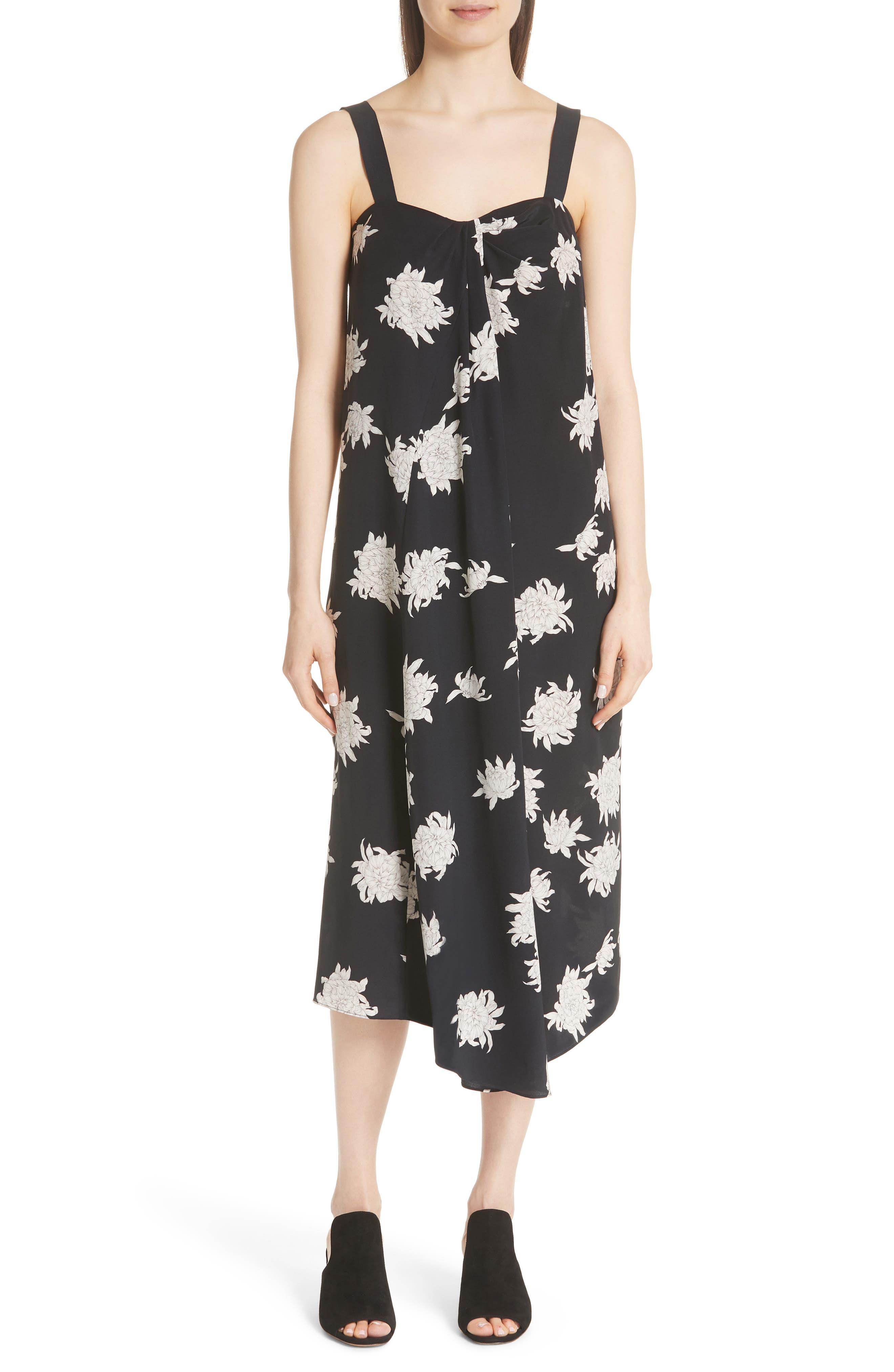 Chrysanthemum Print Silk Midi Dress,                             Main thumbnail 1, color,                             COASTAL