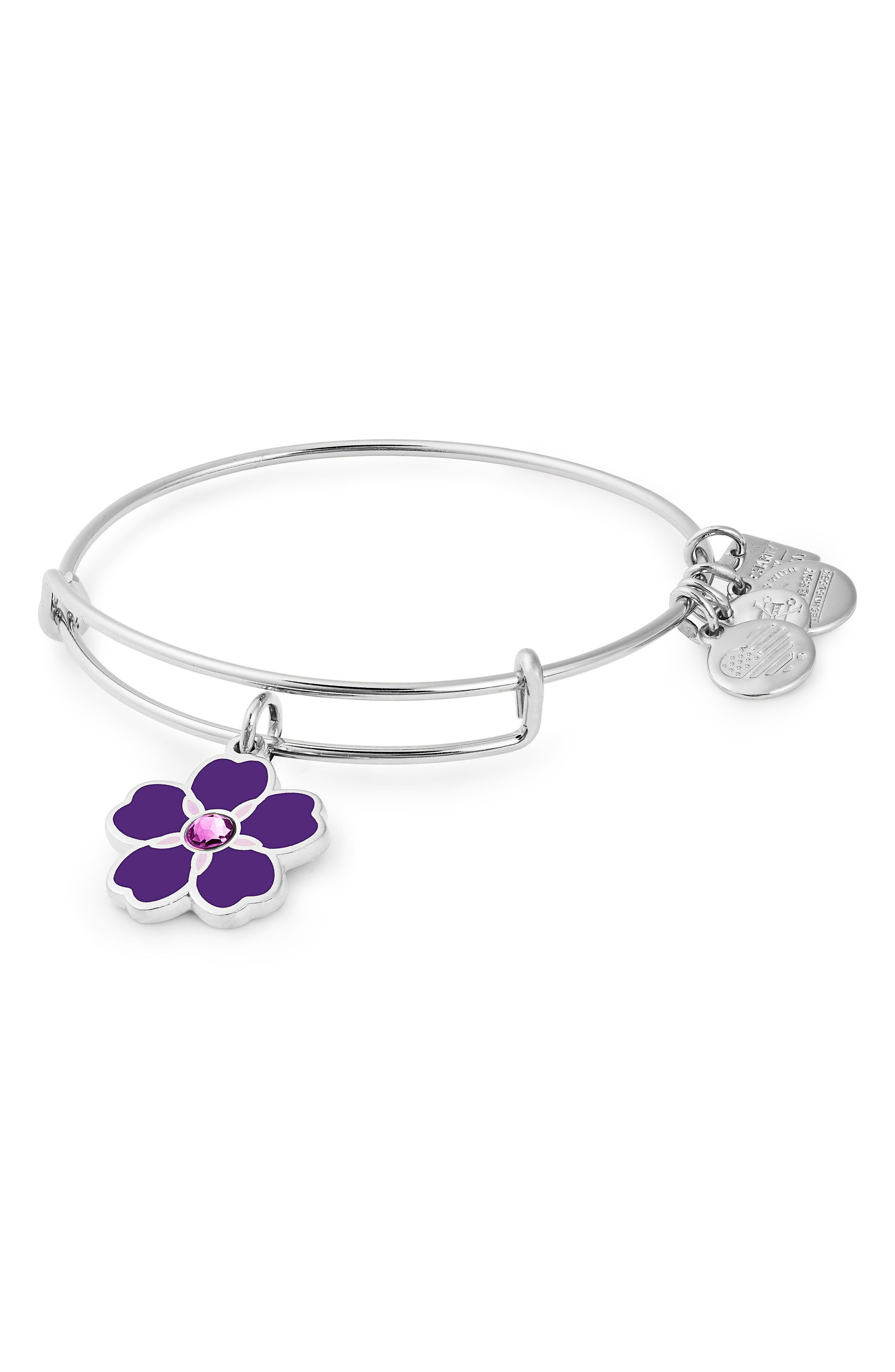 Charity by Design Forget Me Not Charm Bracelet,                             Main thumbnail 1, color,                             SILVER