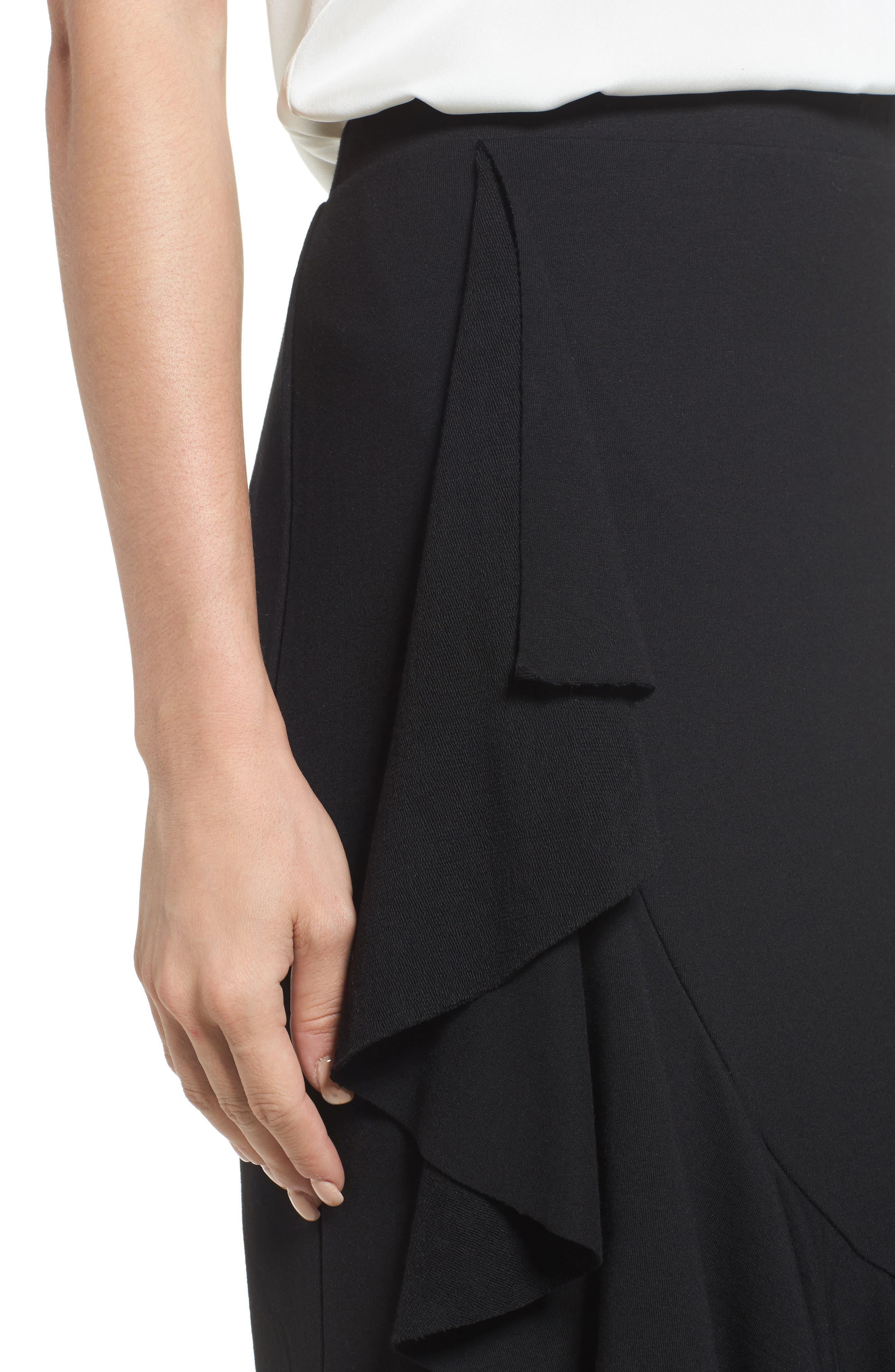 Ruffled Knit Skirt,                             Alternate thumbnail 4, color,                             001