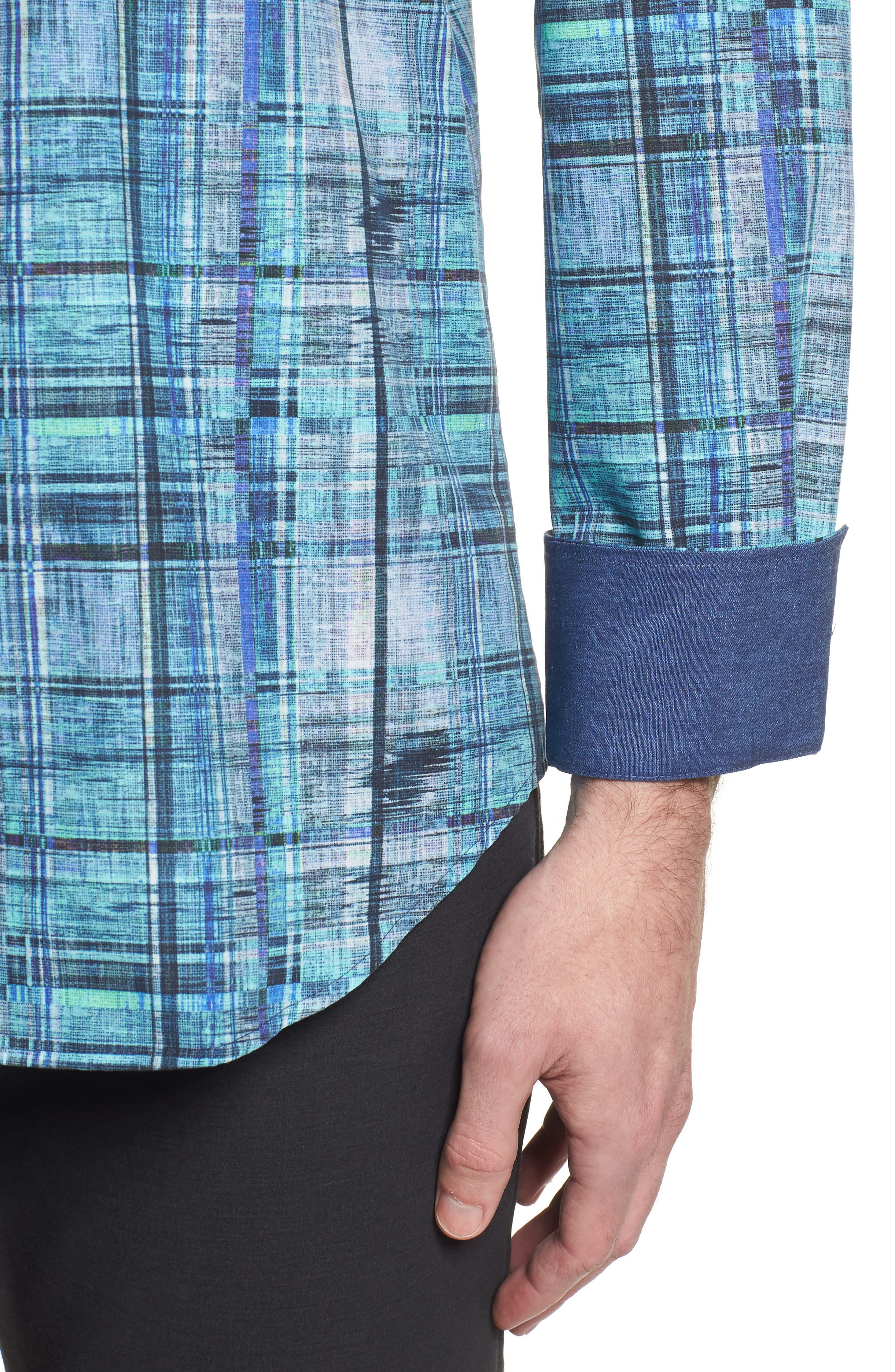 Shaped Fit Distressed Check Sport Shirt,                             Alternate thumbnail 4, color,                             425