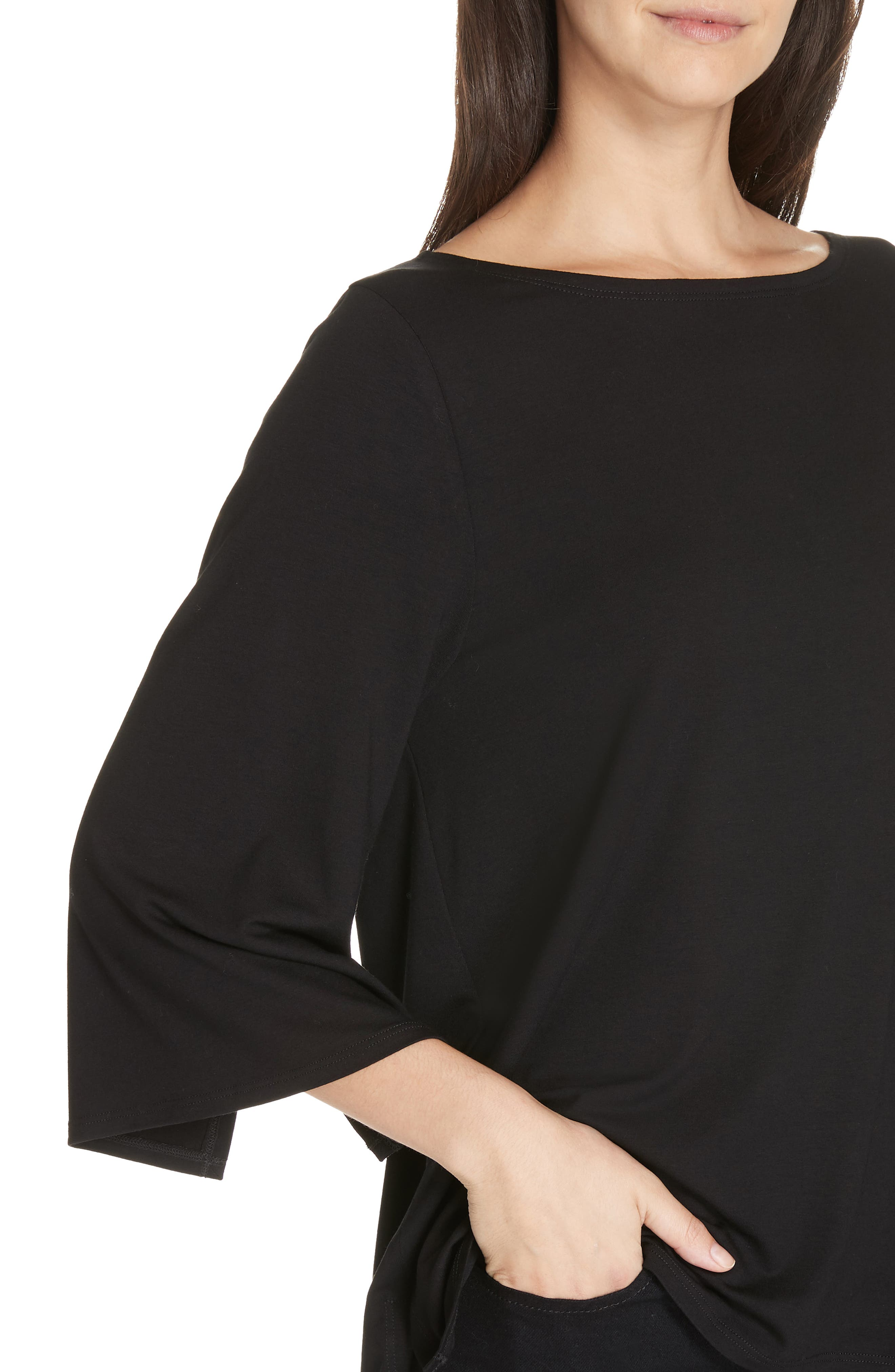 Bell Sleeve Jersey Top,                             Alternate thumbnail 4, color,                             BLACK