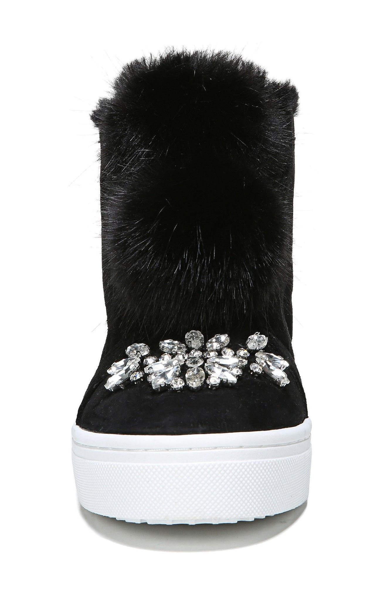 Leland Faux Fur Sneaker,                             Alternate thumbnail 4, color,