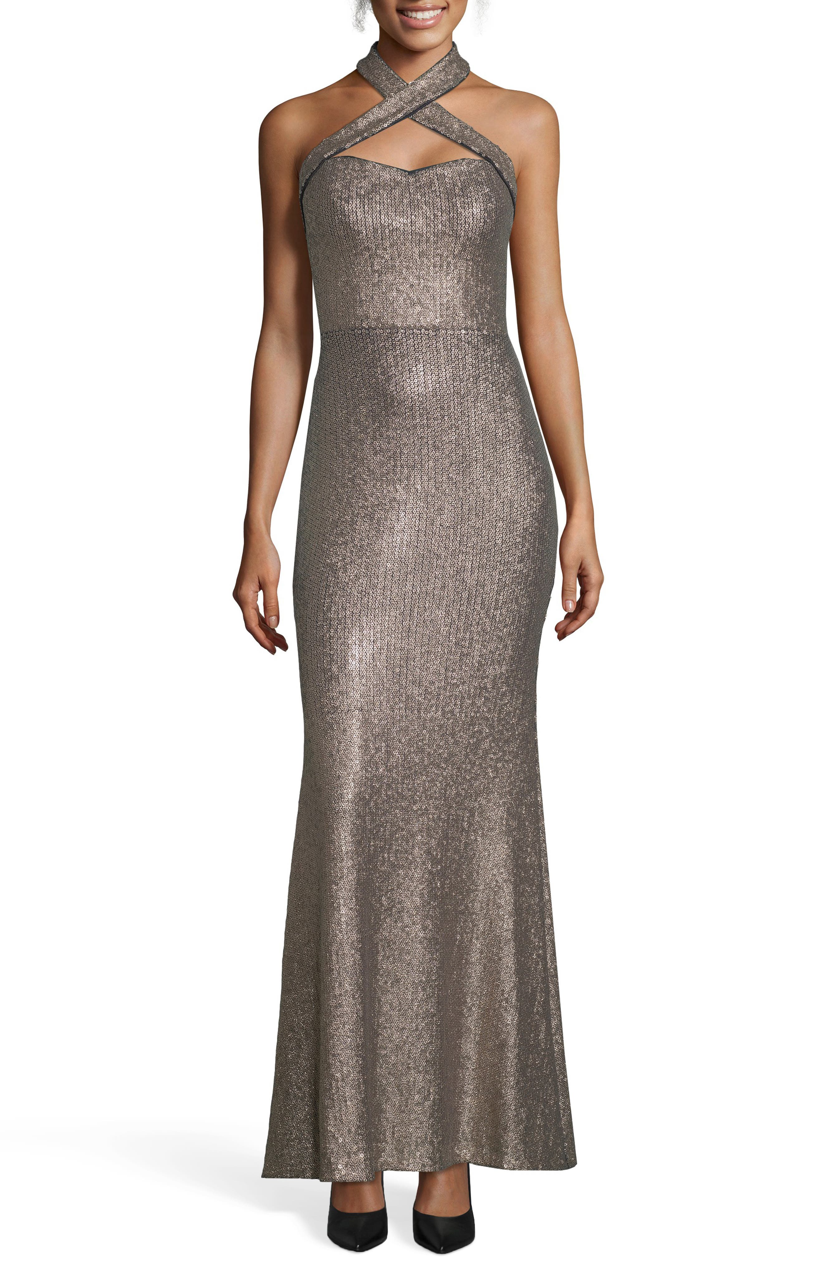 Crisscross Halter Neck Sequin Gown,                             Main thumbnail 1, color,                             GOLD/ NAVY