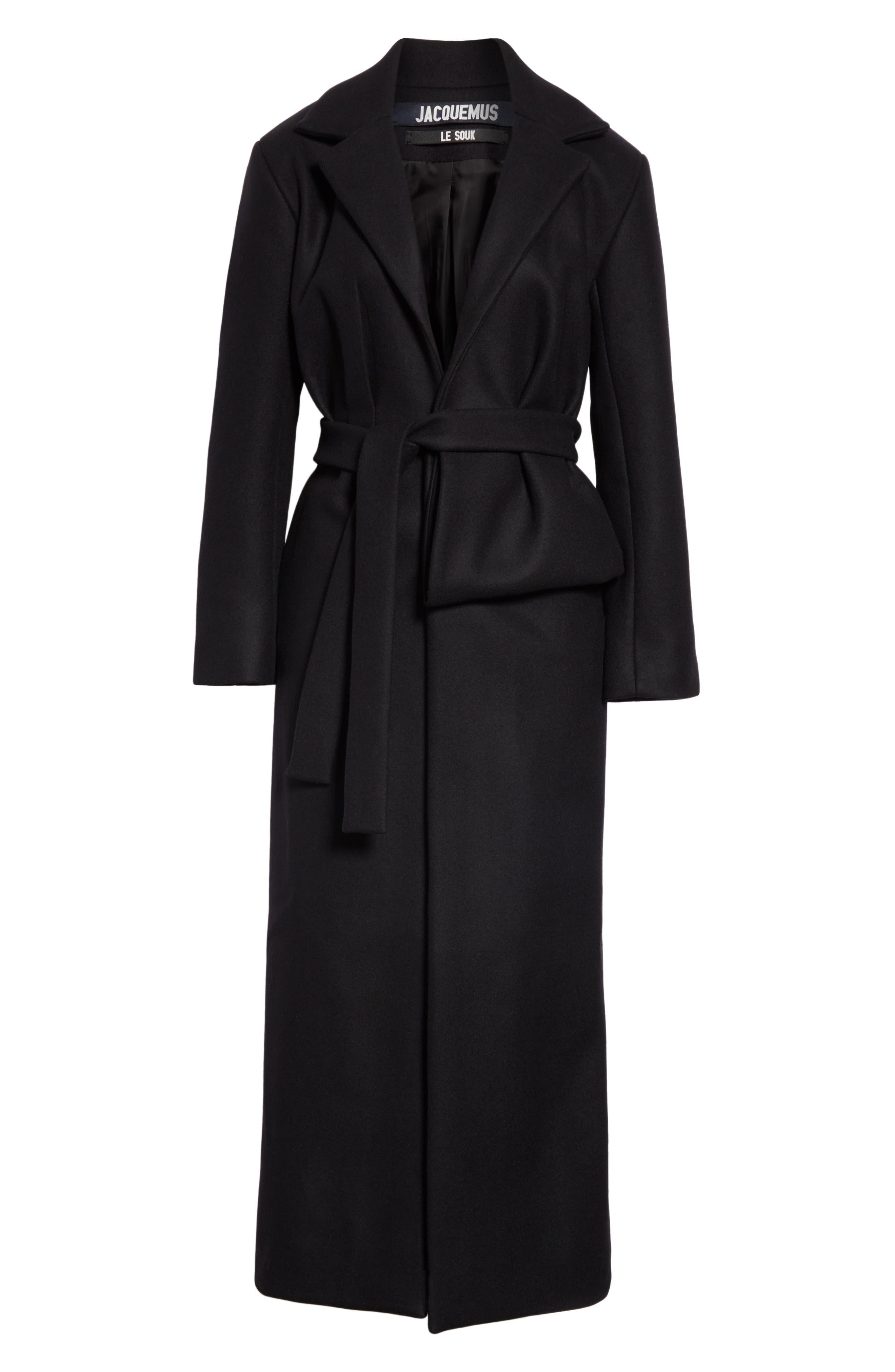 Le Manteau Aissa Belted Wool Blend Coat,                             Alternate thumbnail 5, color,                             001