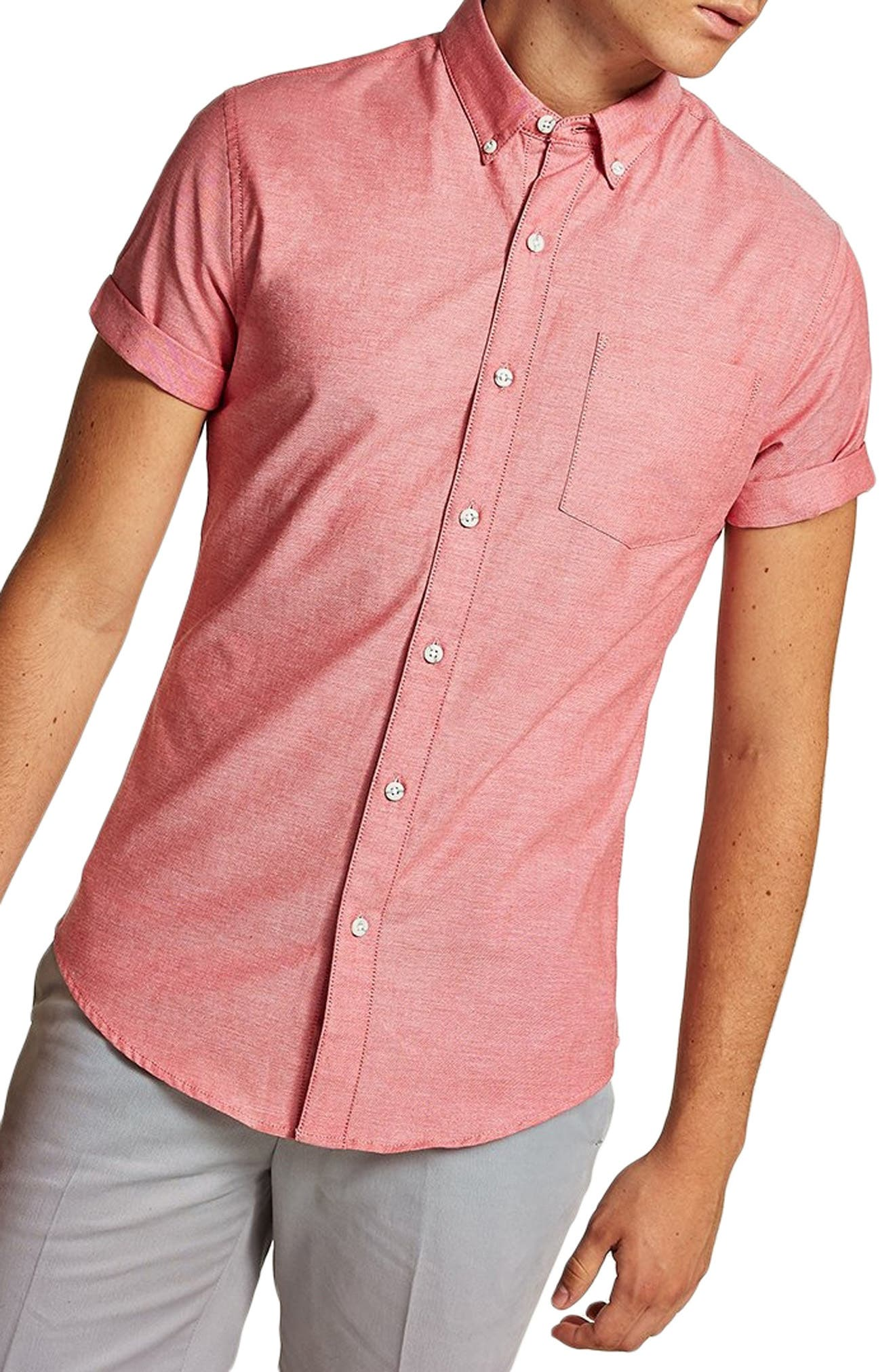 Muscle Fit Oxford Shirt,                         Main,                         color, RED MULTI