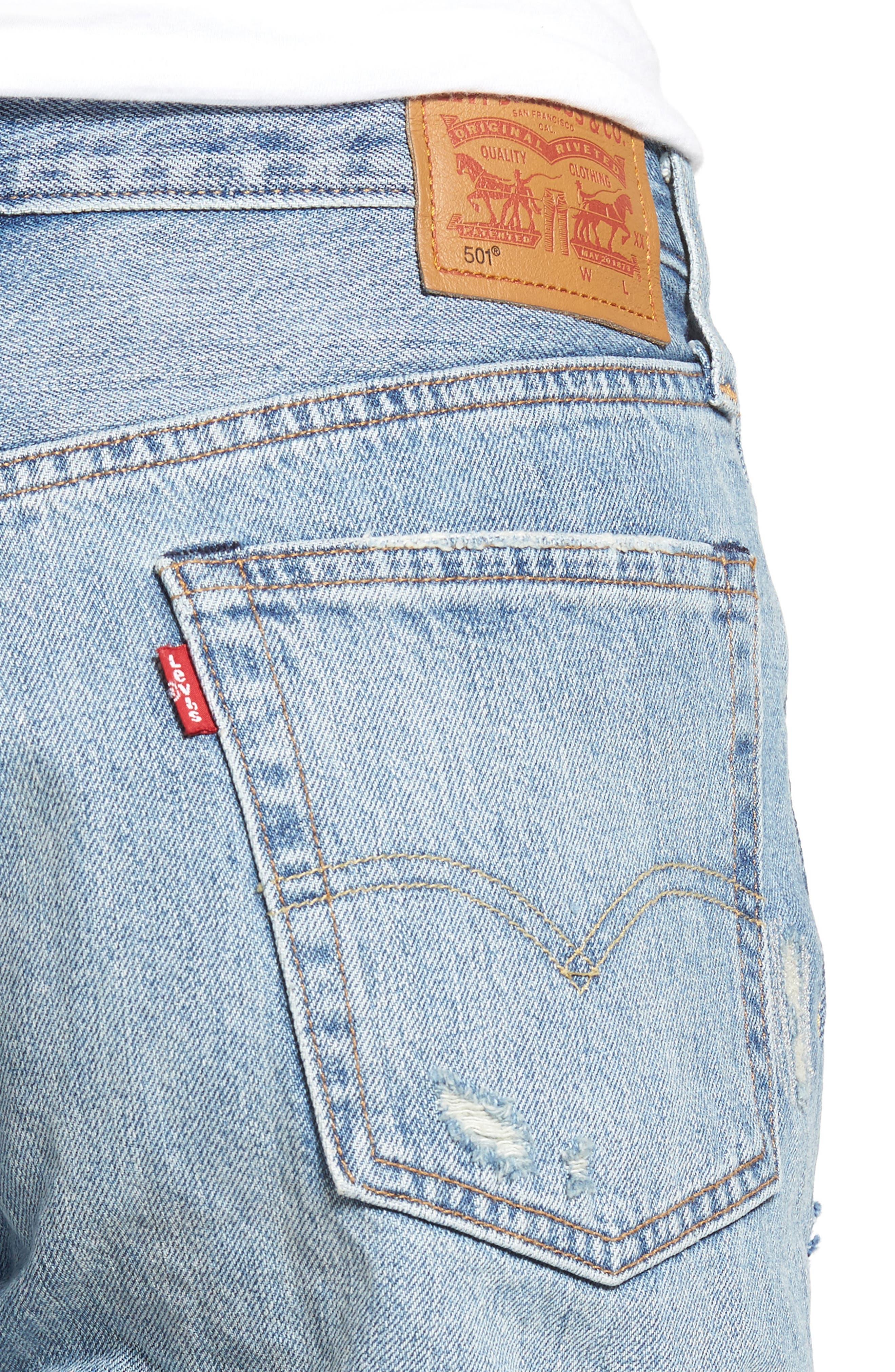 501 Long Denim Shorts,                             Alternate thumbnail 4, color,                             400