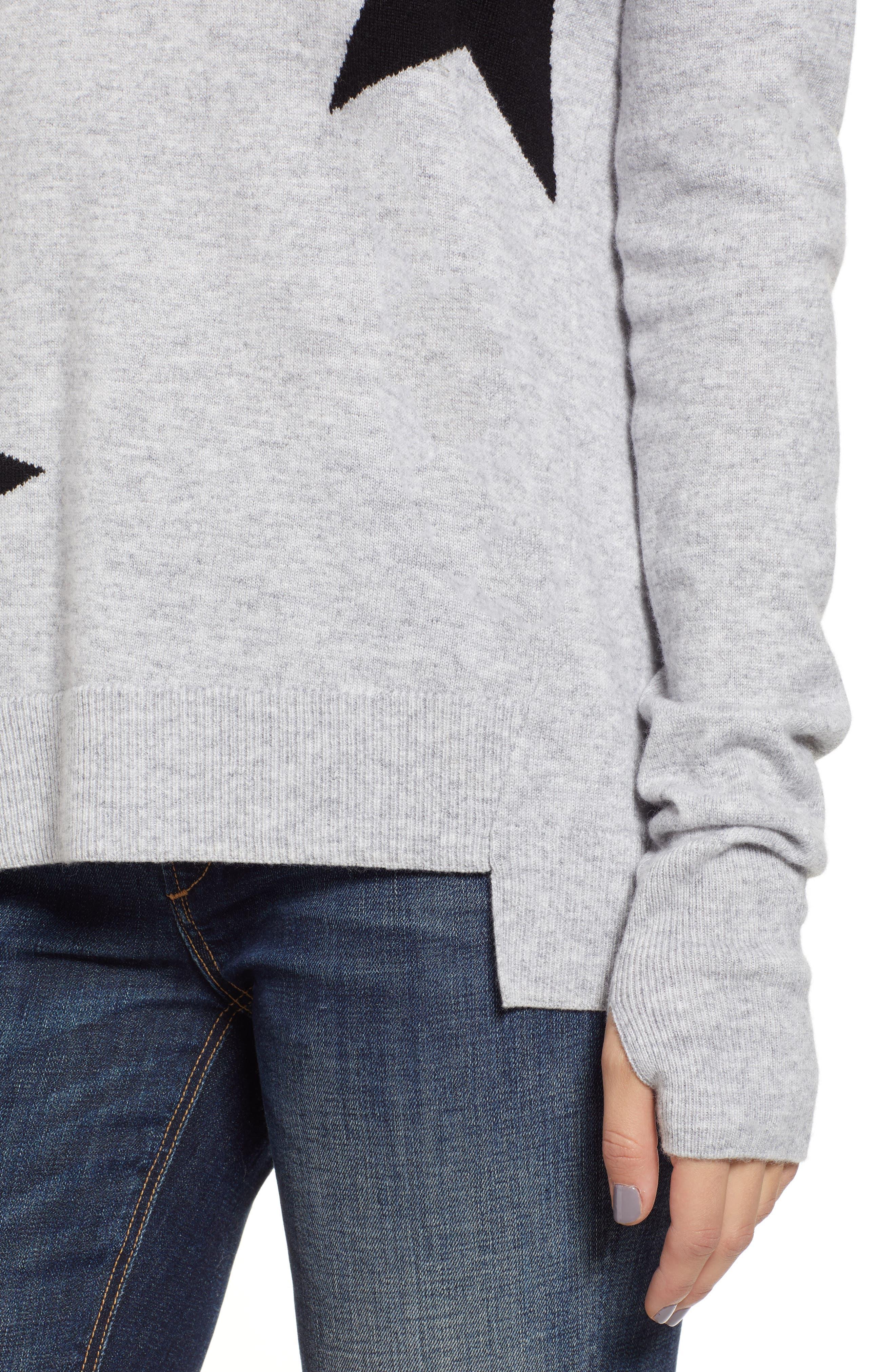 Star Intarsia V-Neck Sweater,                             Alternate thumbnail 4, color,                             HEATHER GREY