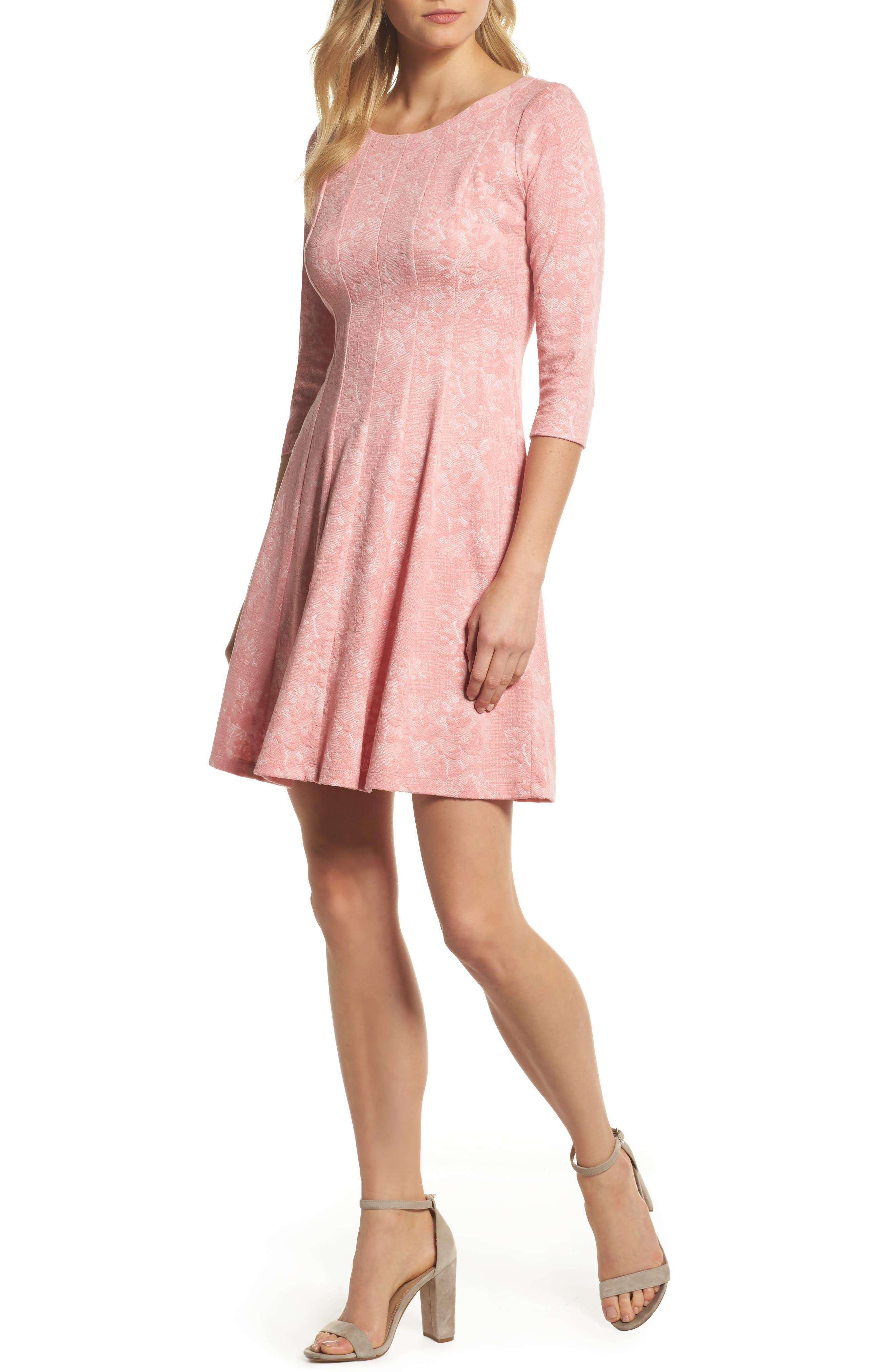 Jacquard Knit Fit & Flare Dress,                             Main thumbnail 1, color,