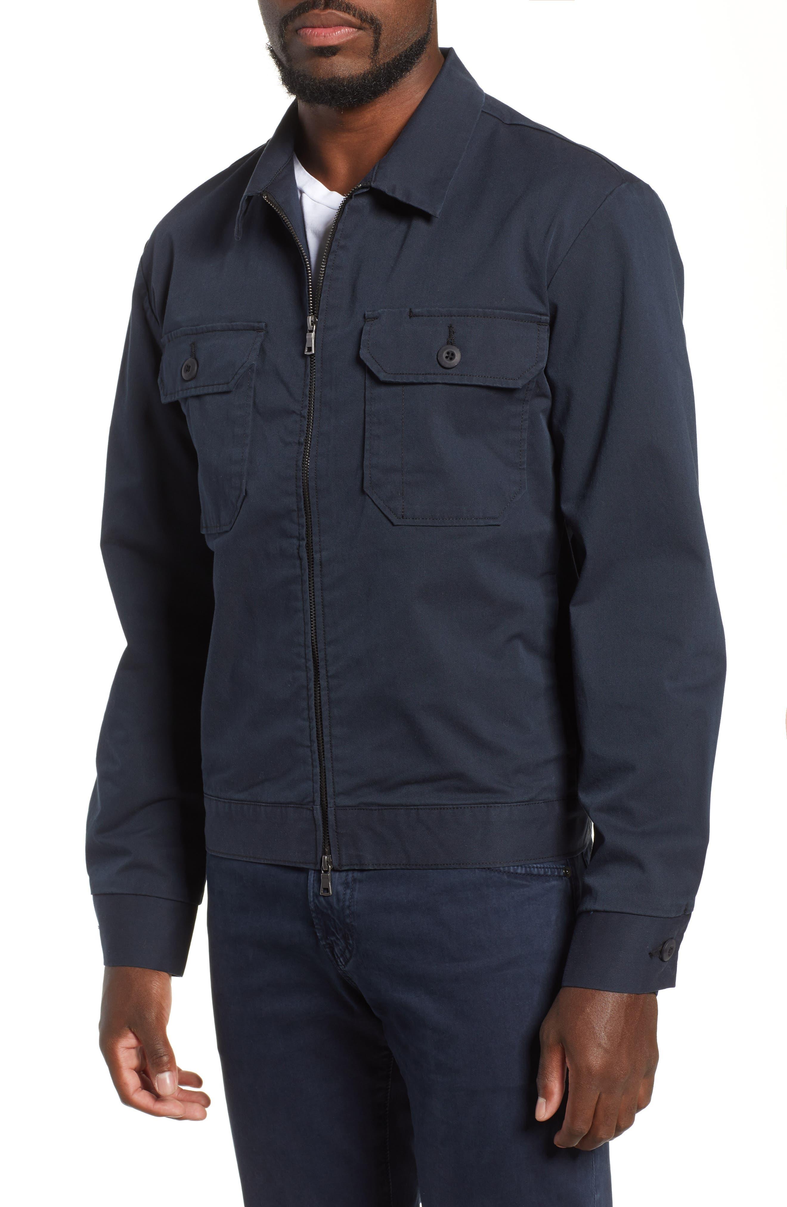 Axle Shop Regular Stretch Cotton Blend Jacket,                             Alternate thumbnail 4, color,                             BLUE VAULT/ BLACK