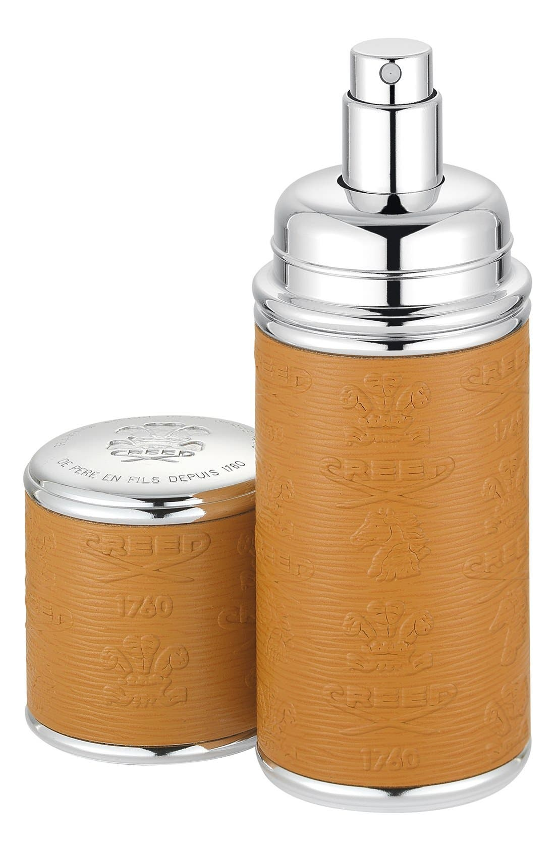 Camel with Silver Trim Leather Atomizer,                             Main thumbnail 1, color,                             NO COLOR