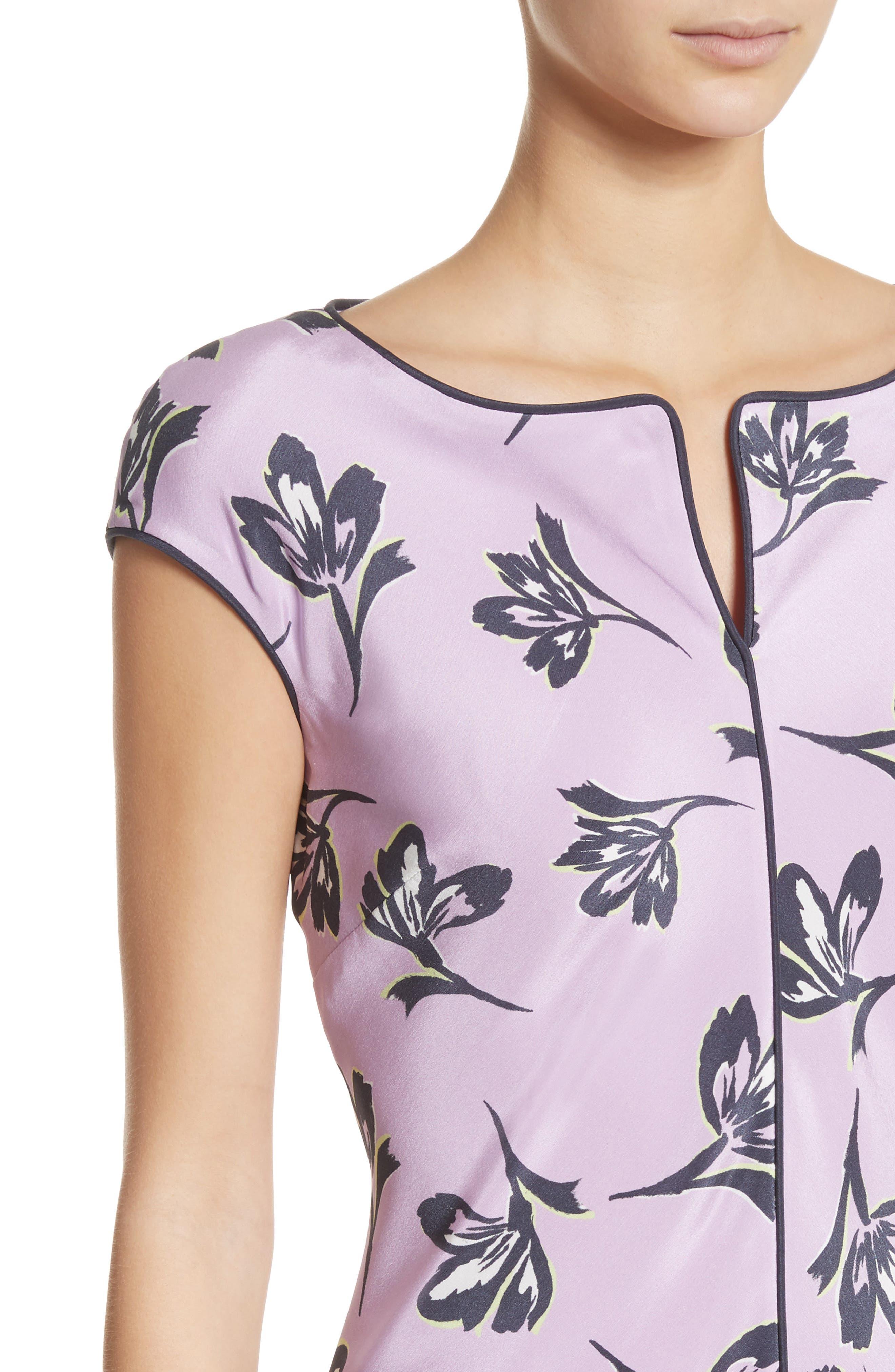 Floral Print Stretch Silk Dress,                             Alternate thumbnail 4, color,                             560