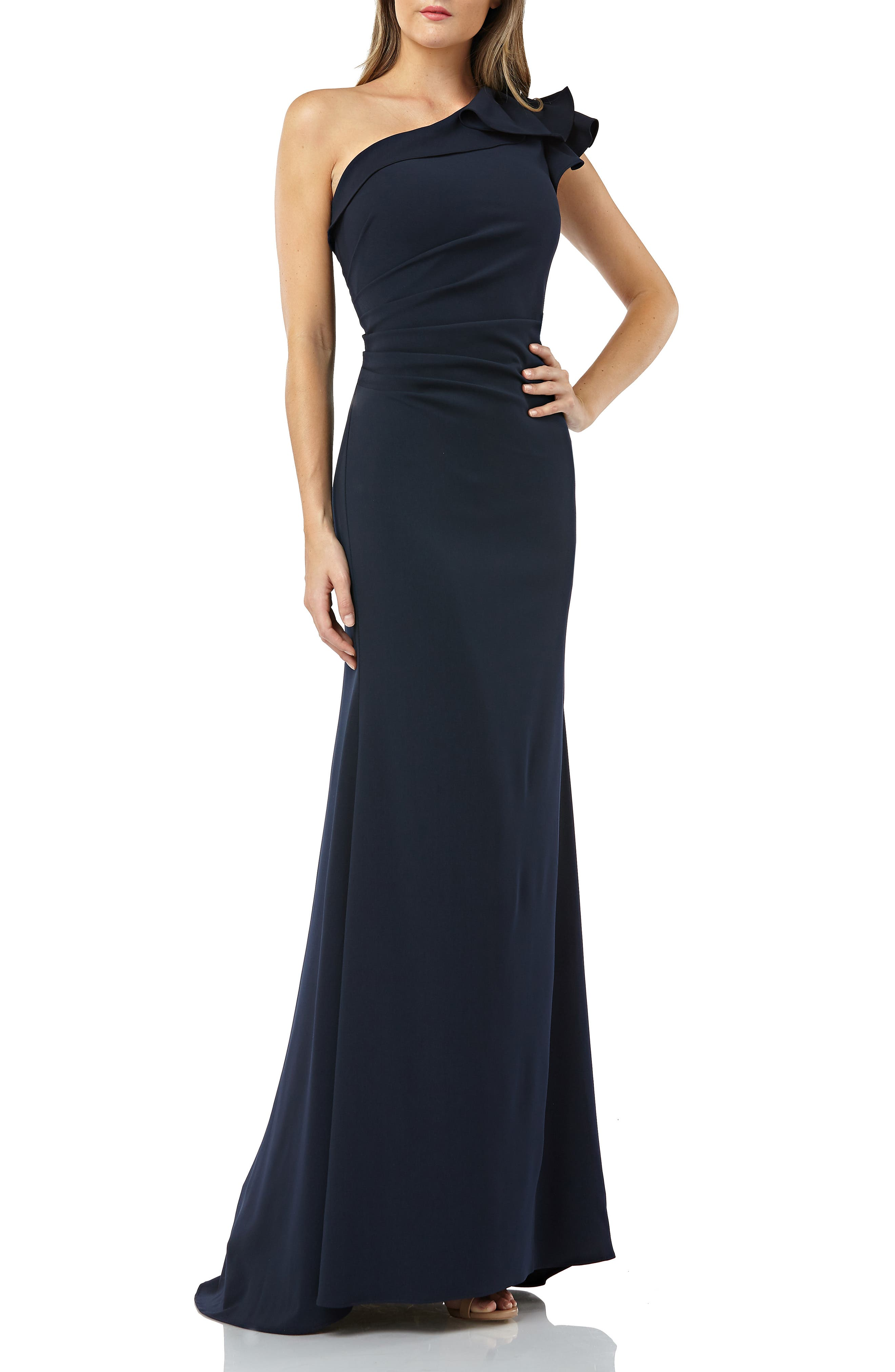 Carmen Marc Valvo Infusion One-Shoulder Gown, Blue