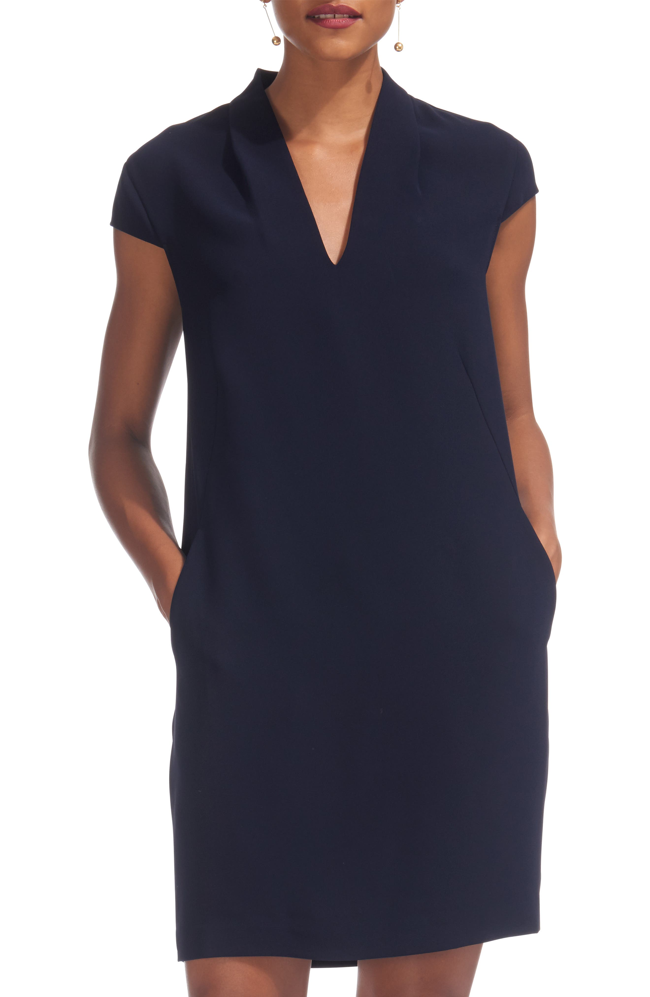 Paige Crepe Shift Dress,                         Main,                         color, NAVY
