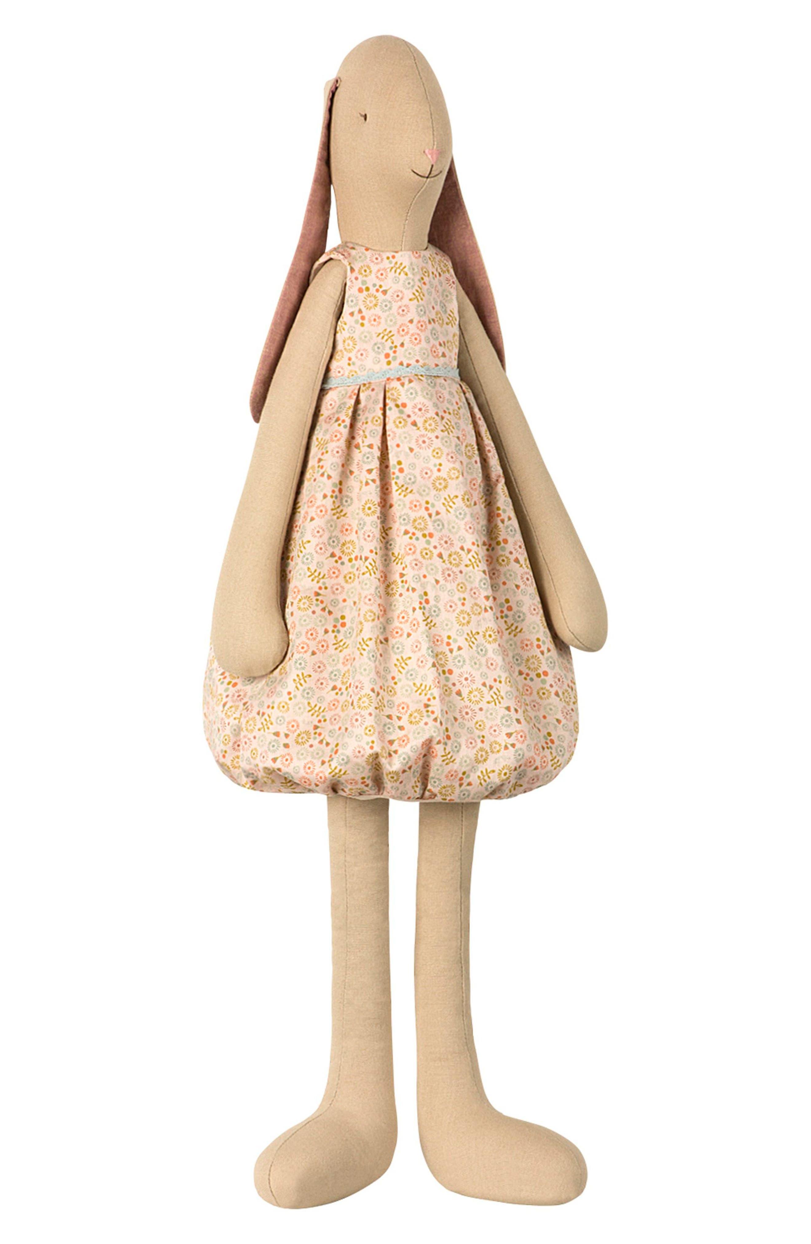 Daisy Mega Vanilla Bunny Stuffed Animal,                         Main,                         color, PEACHE FLORAL DRESS
