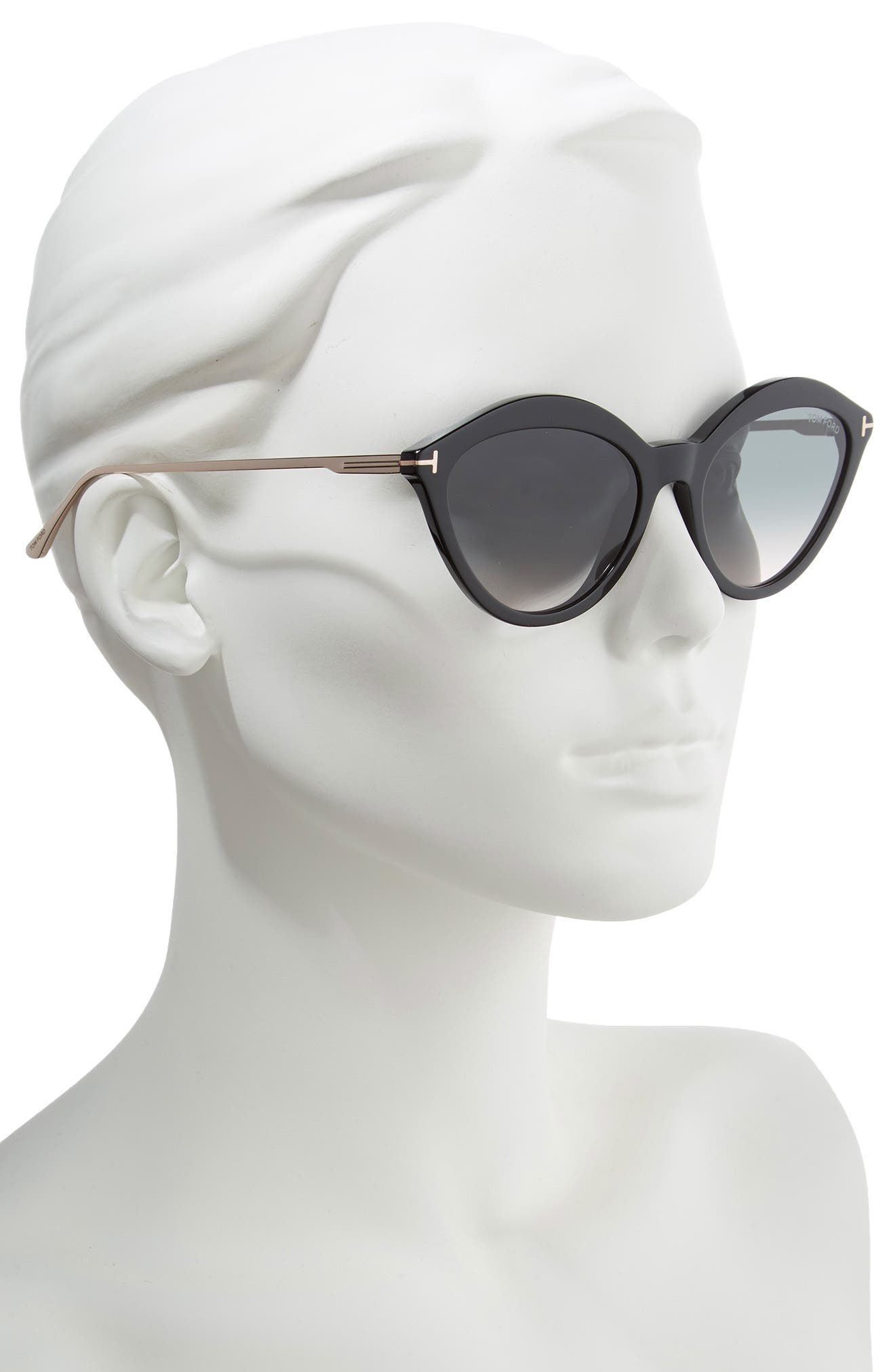 TOM FORD,                             Chloe 57mm Cat Eye Sunglasses,                             Alternate thumbnail 2, color,                             BLACK/ ROSE GOLD/ GREY OCHRE