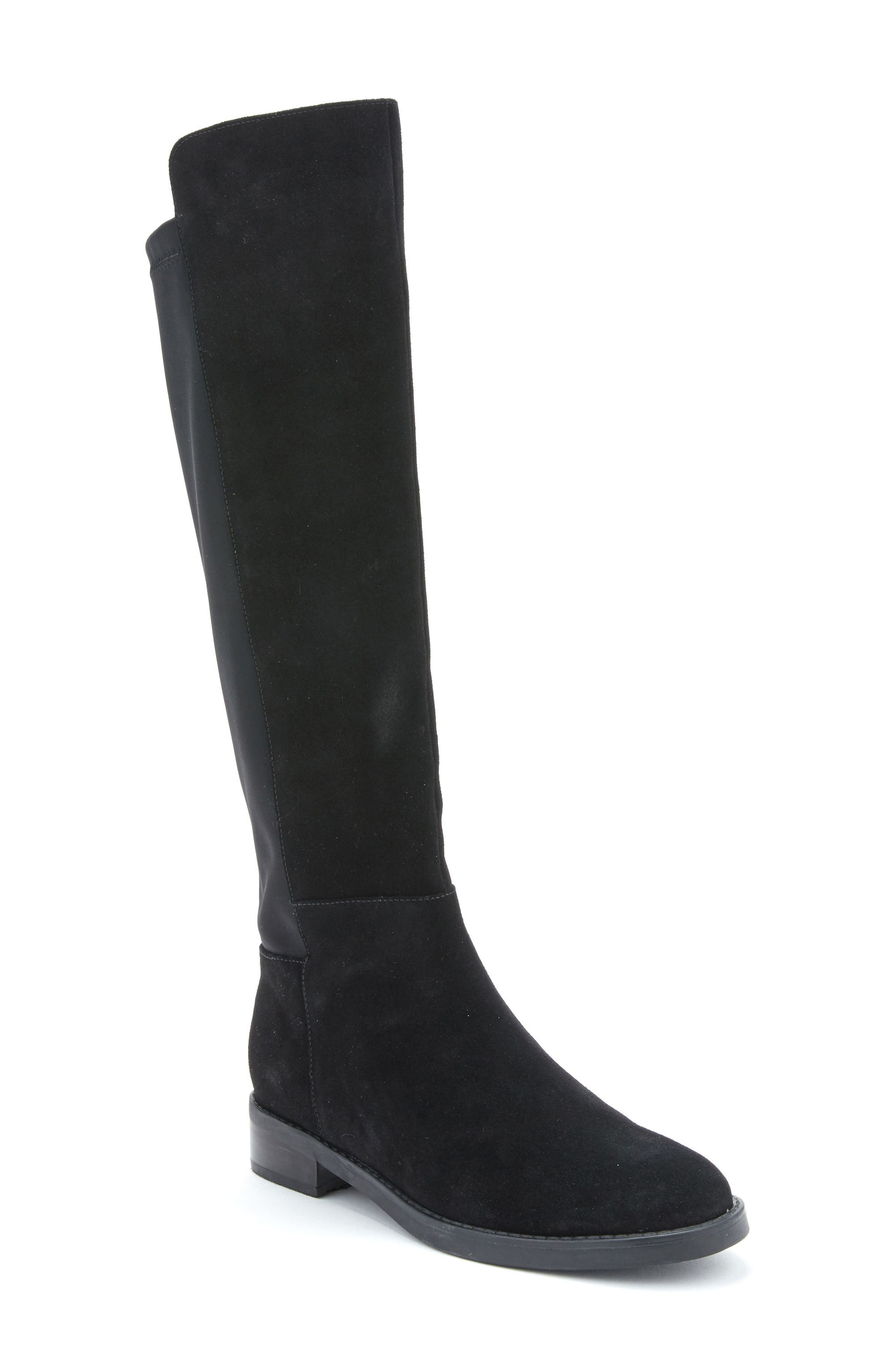 Ellie Waterproof Knee High Riding Boot,                             Main thumbnail 1, color,                             BLACK SUEDE