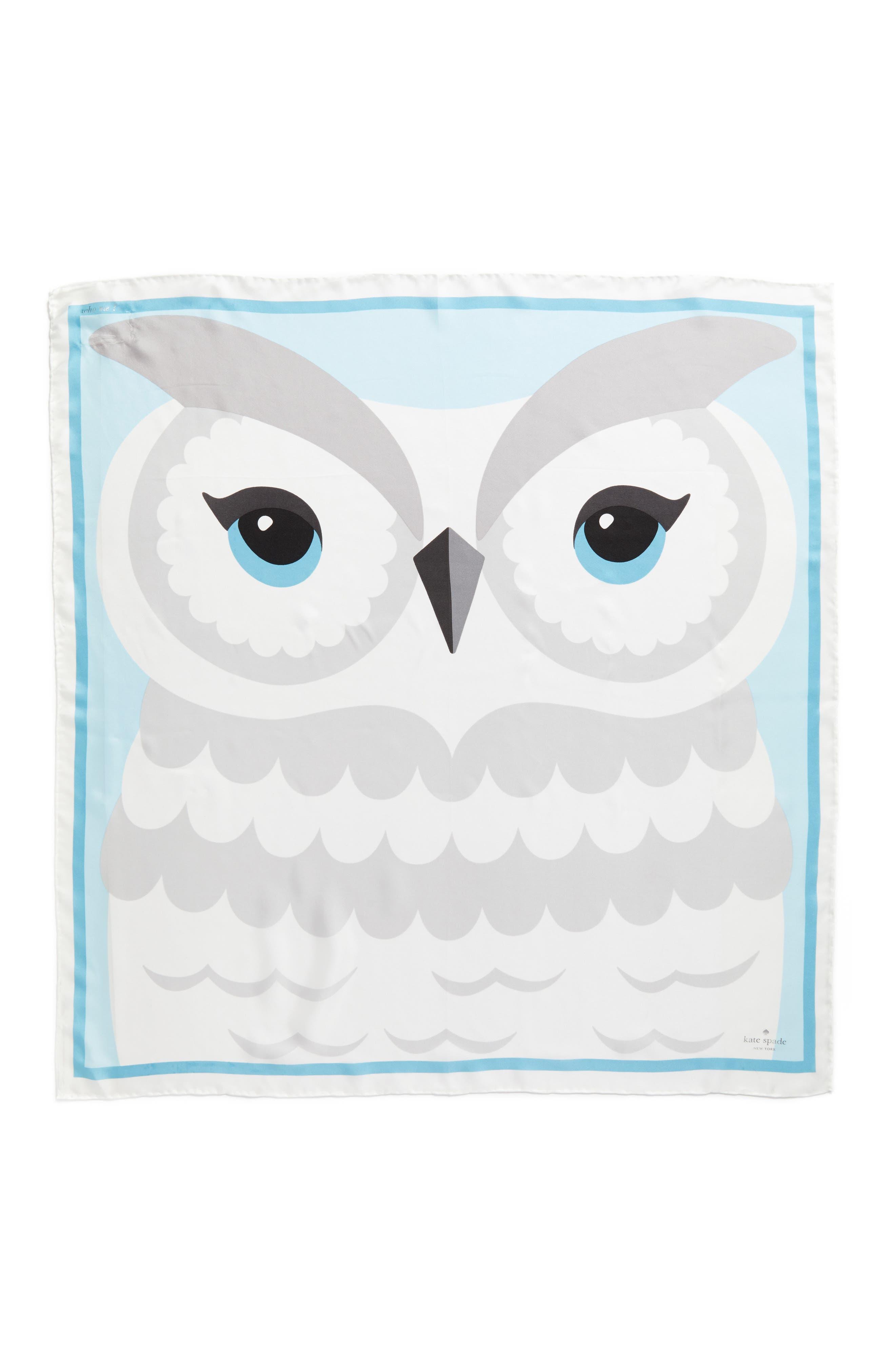 owl silk square scarf,                             Alternate thumbnail 3, color,                             900