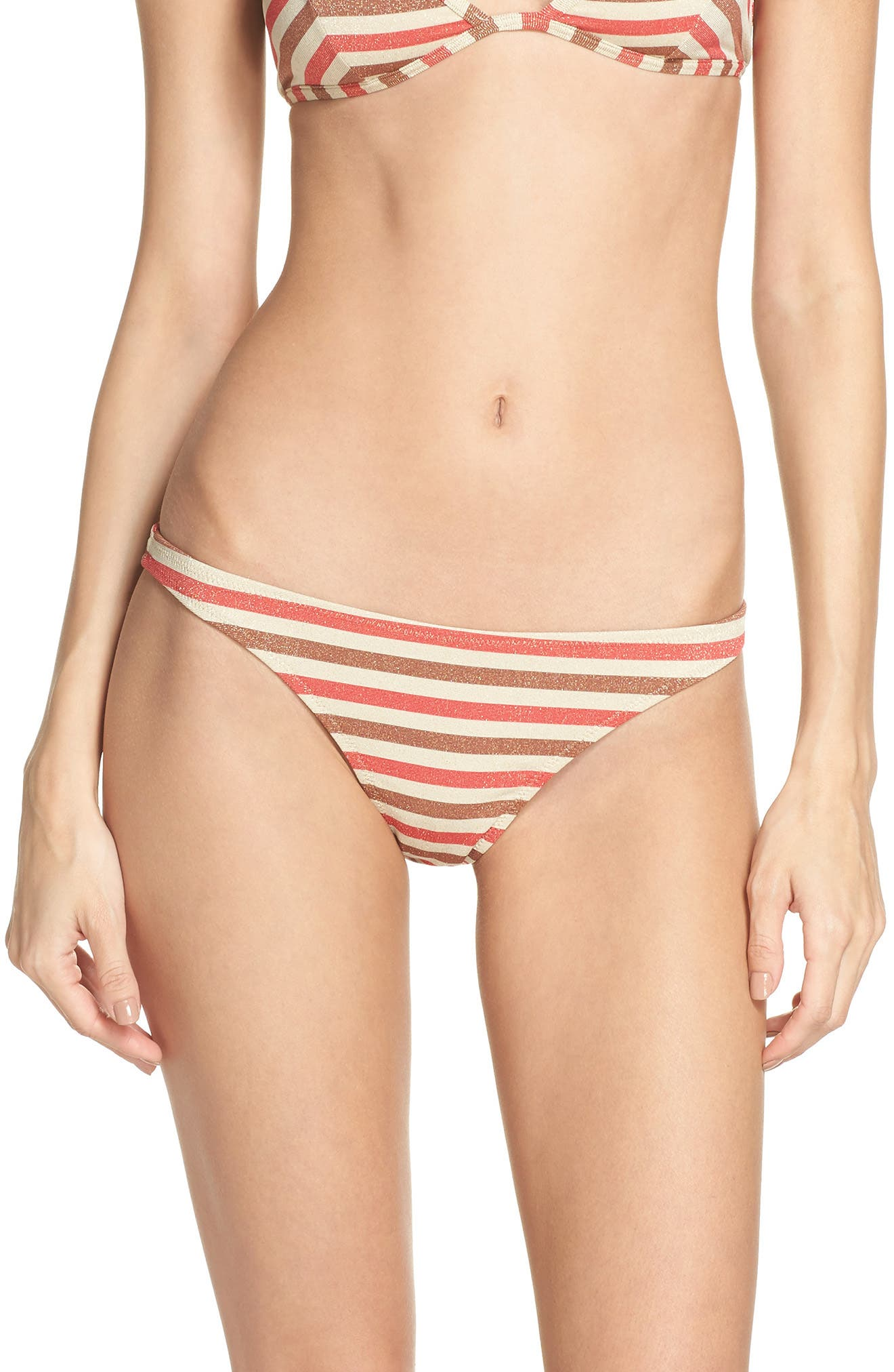 The Wendy Bikini Bottoms,                             Main thumbnail 1, color,                             RED/ BROWN MULTI