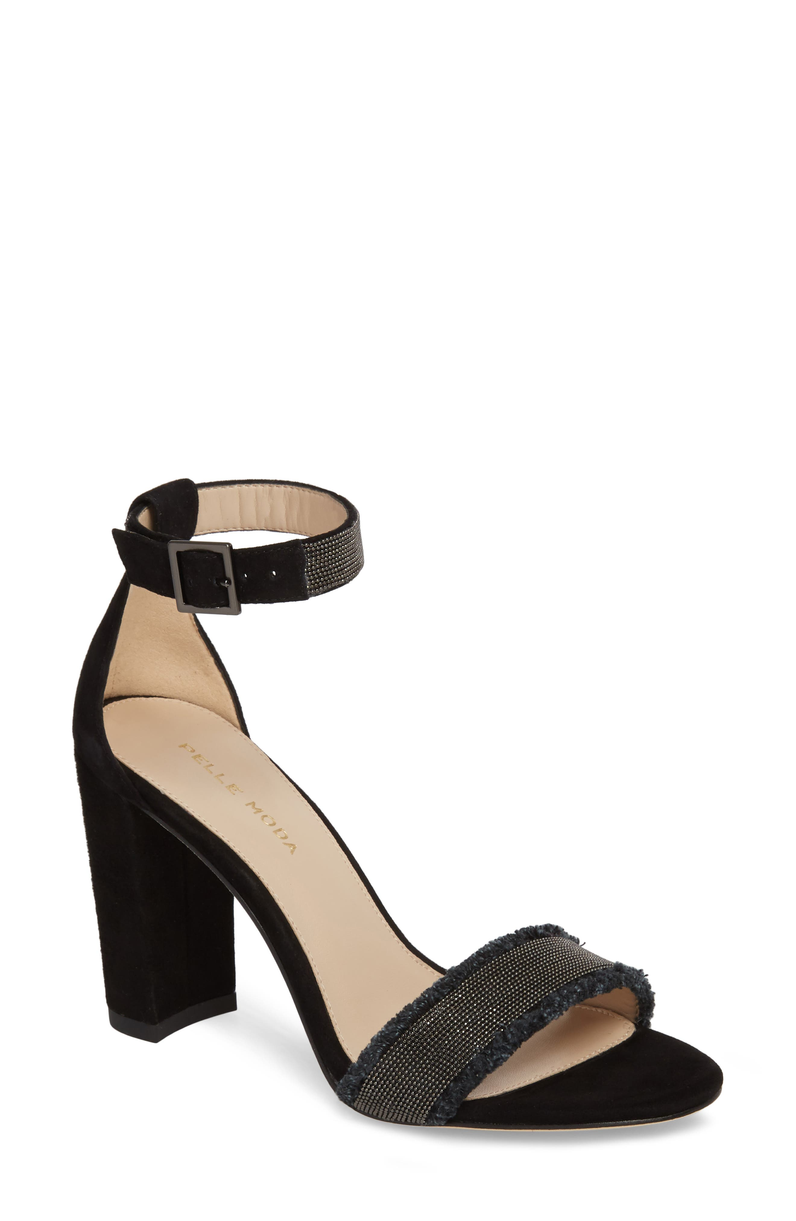 PELLE MODA,                             Bonnie6 Embellished Sandal,                             Main thumbnail 1, color,                             BLACK SUEDE