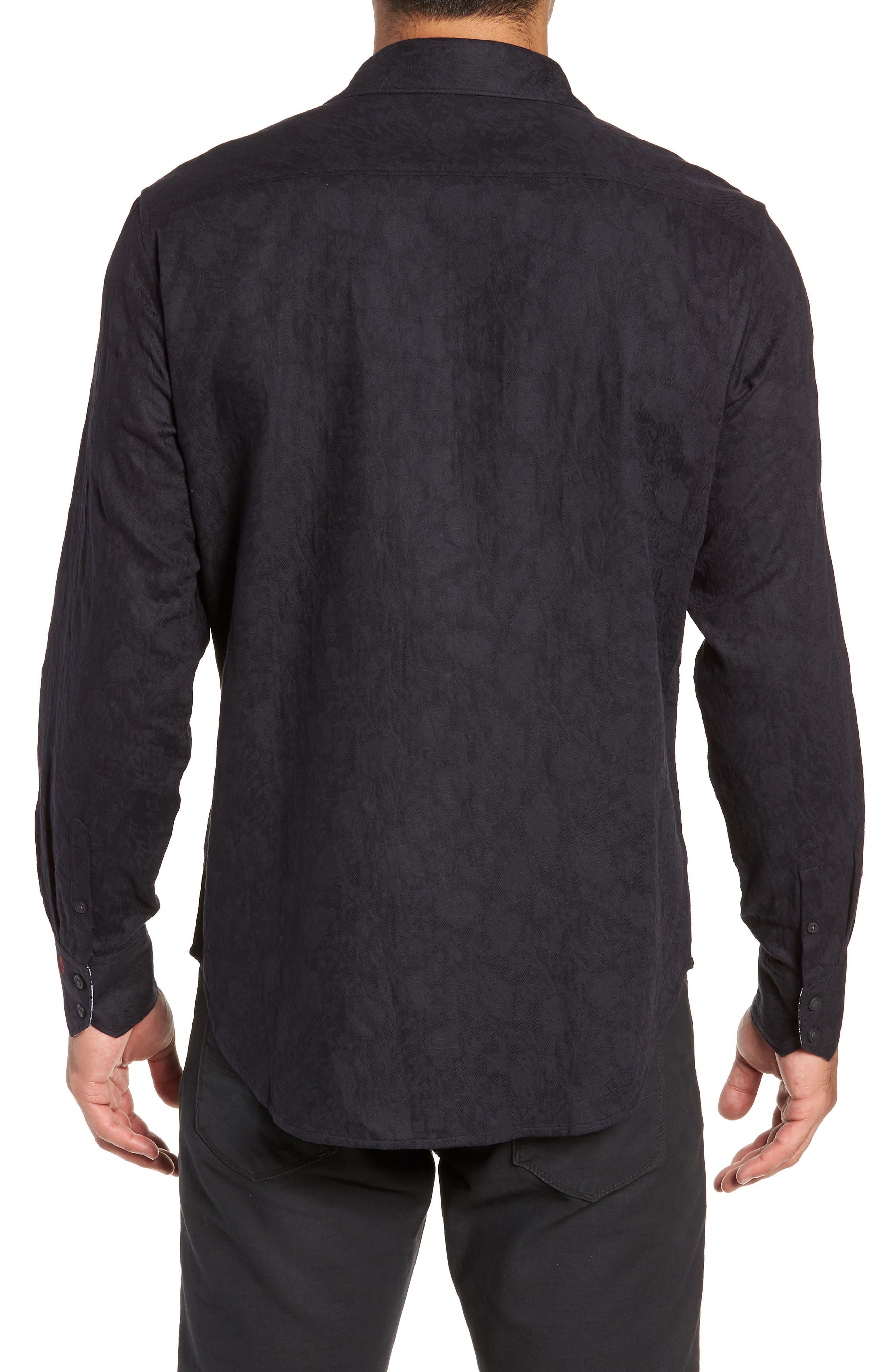 Nicholls Classic Fit Sport Shirt,                             Alternate thumbnail 3, color,                             BLACK