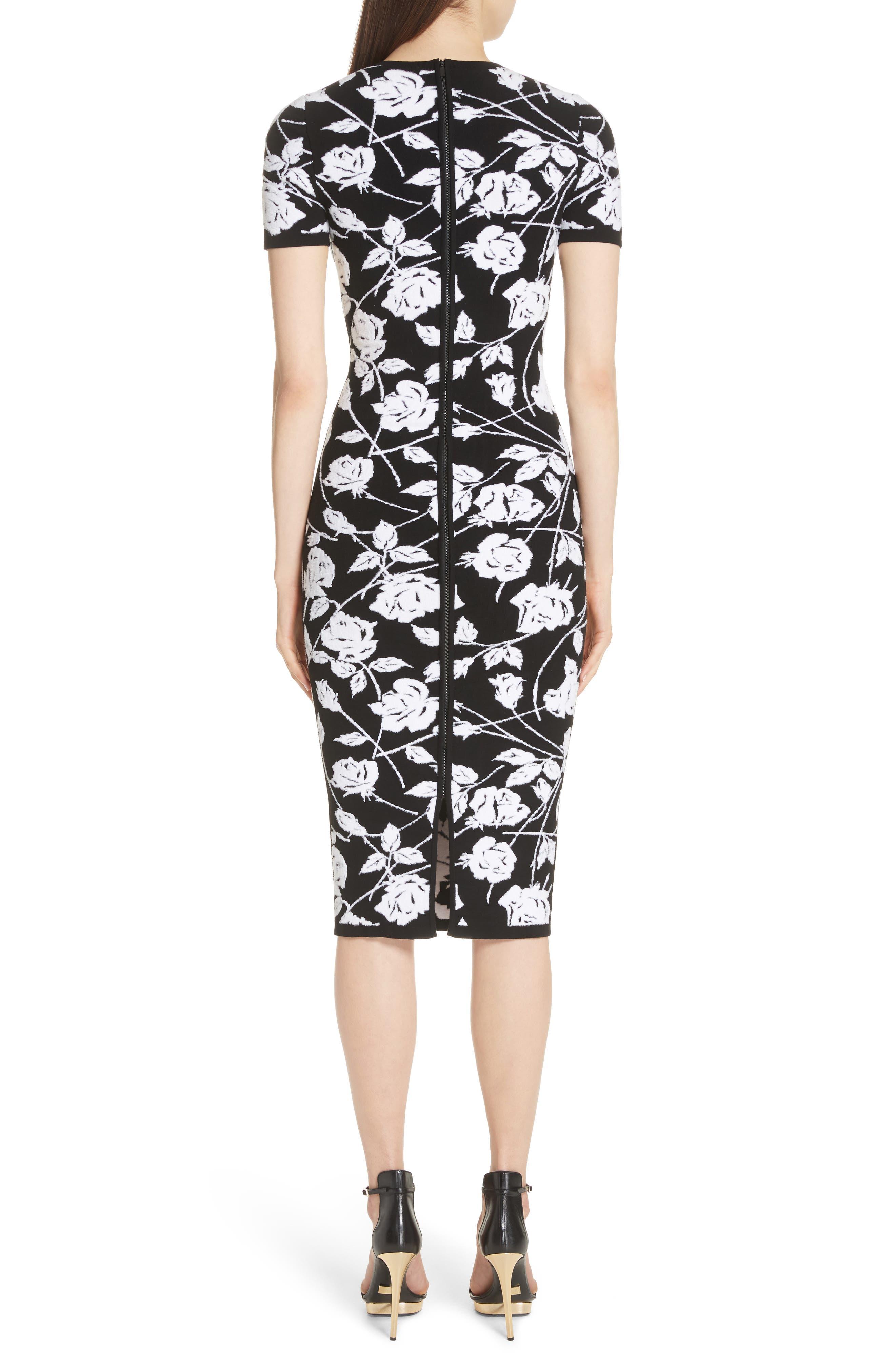 Stencil Rose Jacquard Dress,                             Alternate thumbnail 2, color,                             BLACK