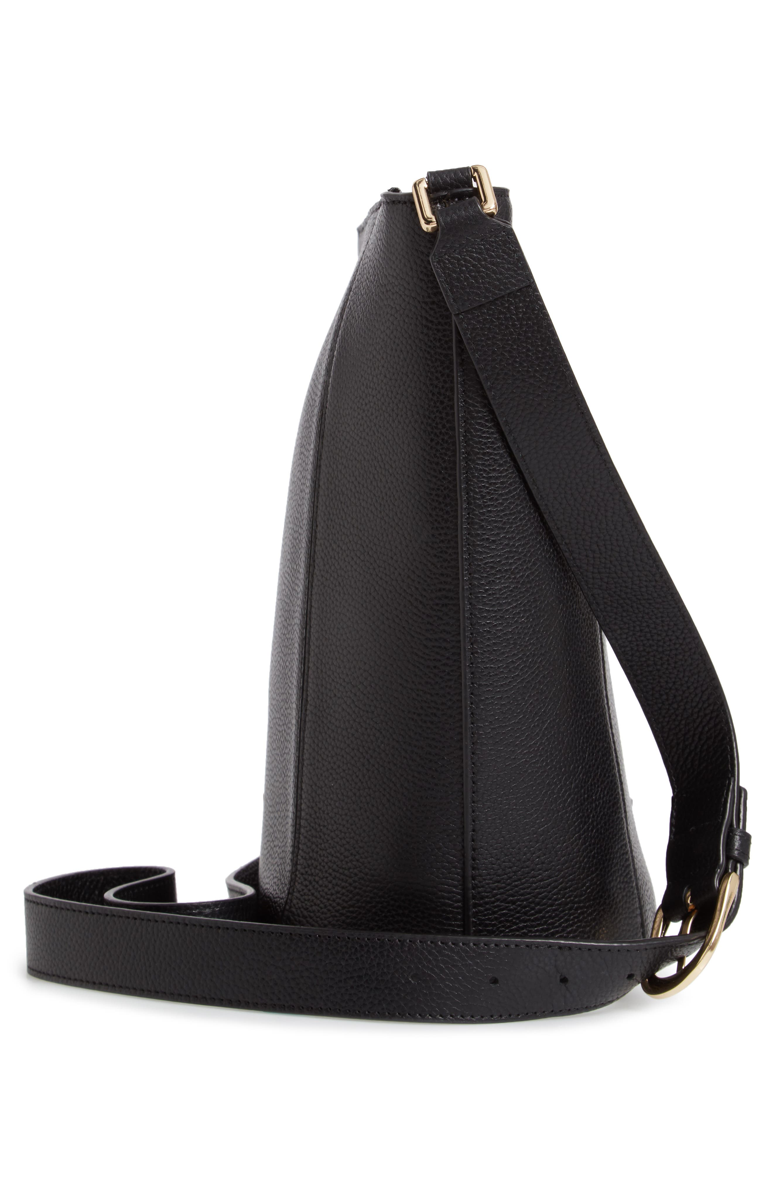 Loraine Leather Bucket Bag,                             Alternate thumbnail 5, color,                             BLACK