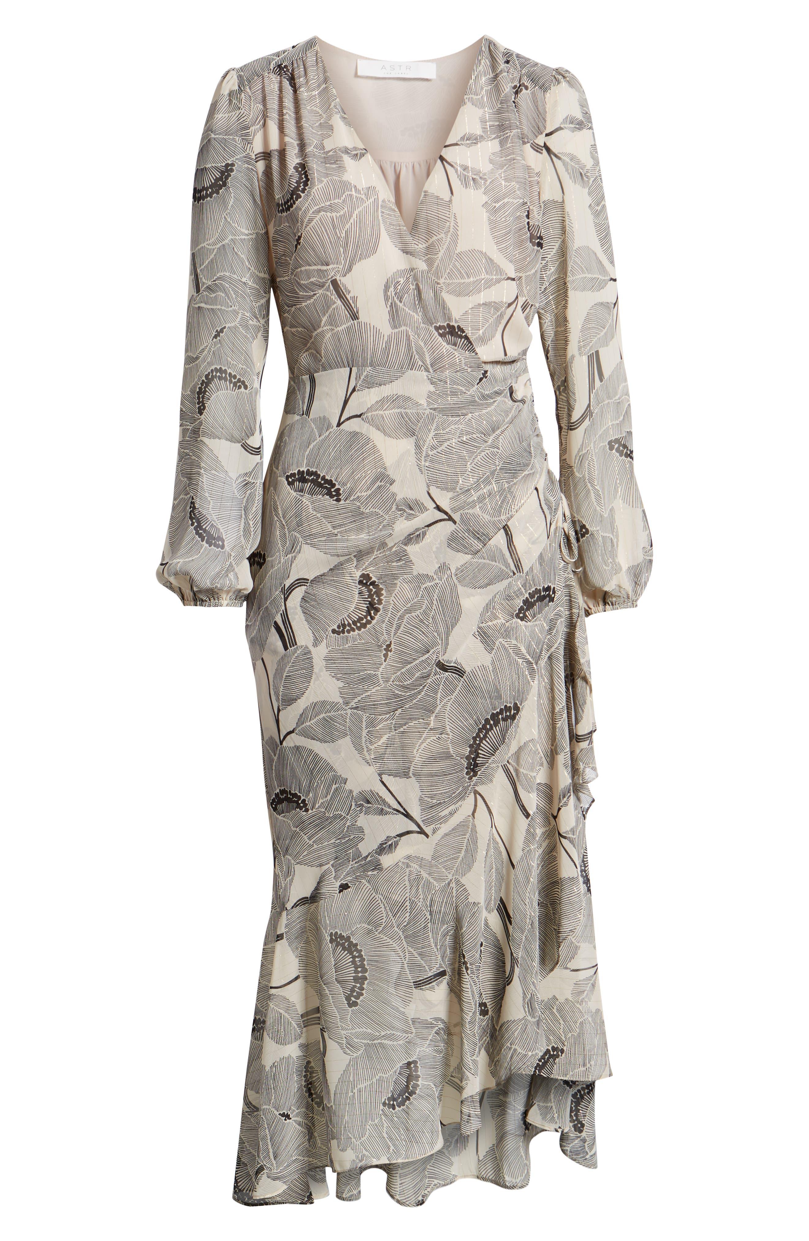 ASTR THE LABEL,                             Floral Print Faux Wrap Dress,                             Alternate thumbnail 7, color,                             IVORY FLORAL
