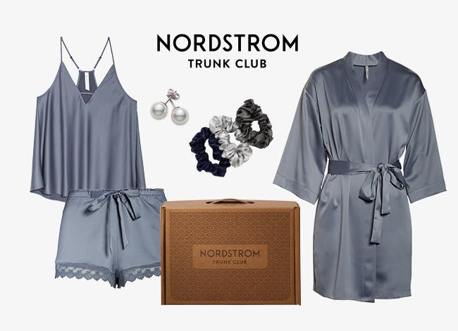 Women's earrings, scrunchies and matching satin camisole, shorts and robe picked by Nordstrom Trunk Club.