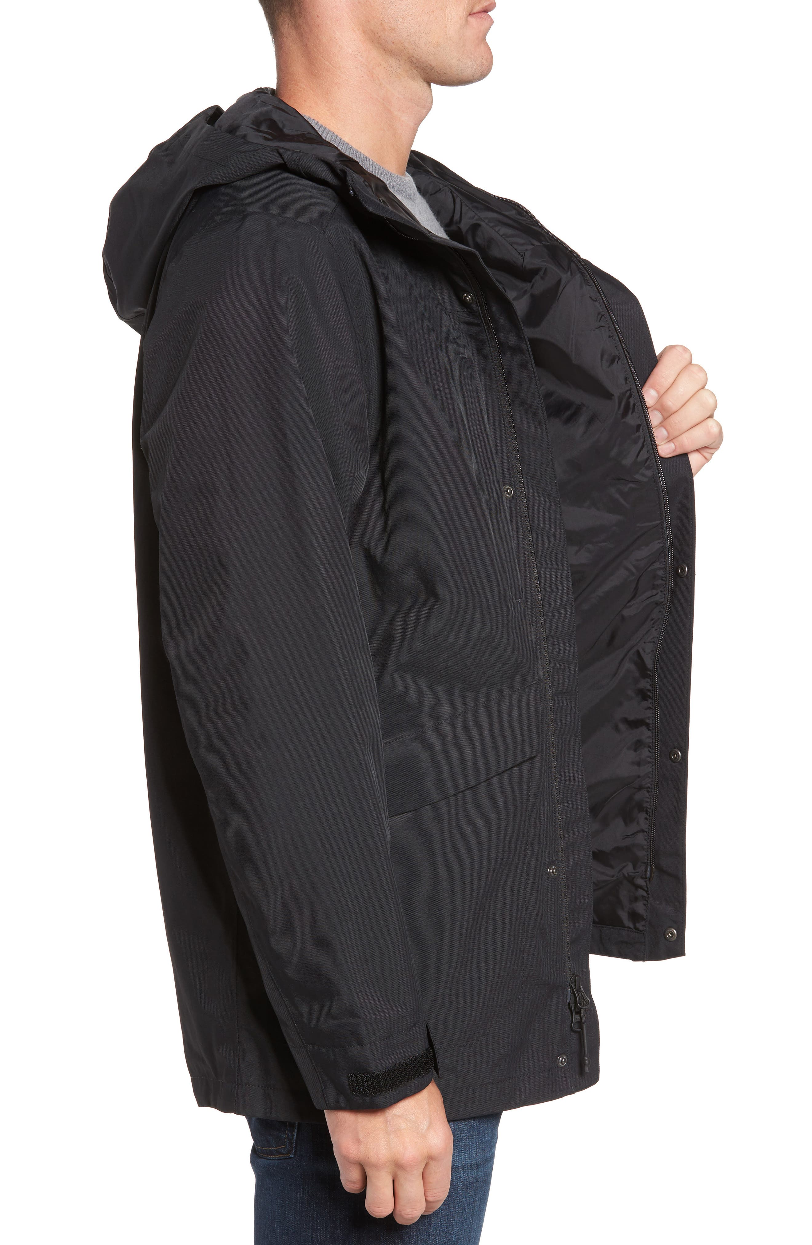 El Misti Trench II Hooded Jacket,                             Alternate thumbnail 3, color,                             BLACK