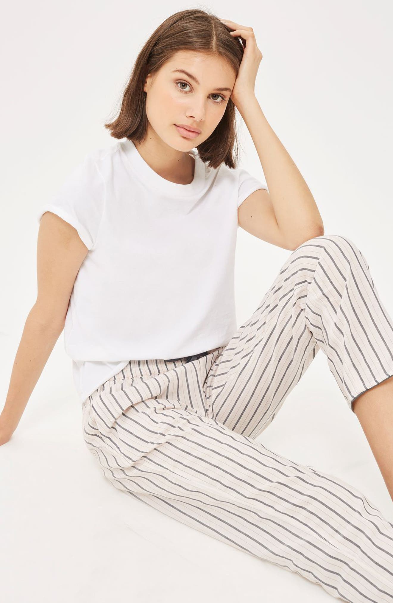 Stripe Pajama Pants,                             Alternate thumbnail 4, color,                             650