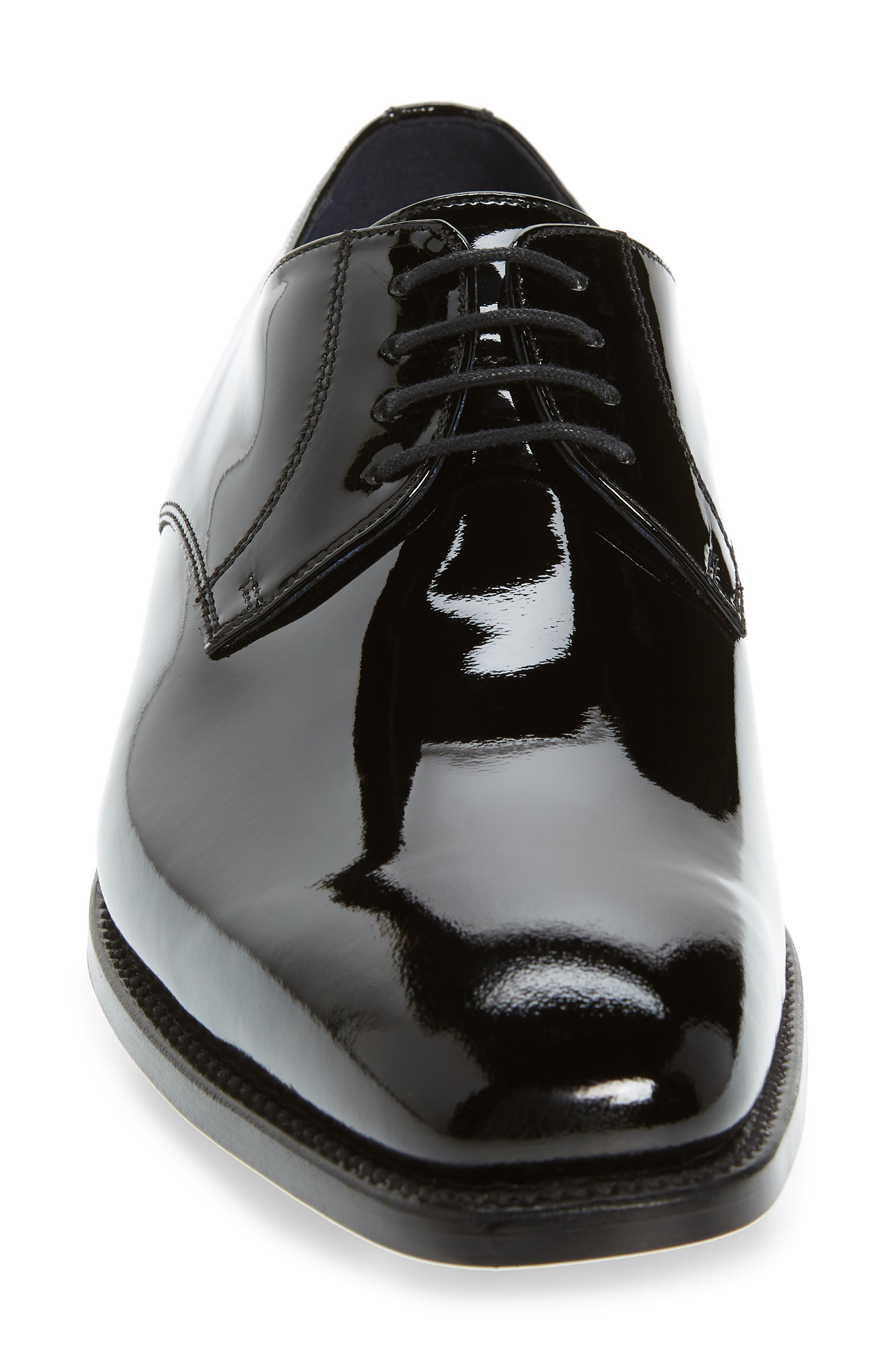 Alameda Plain Toe Derby,                             Alternate thumbnail 4, color,                             BLACK PATENT LEATHER
