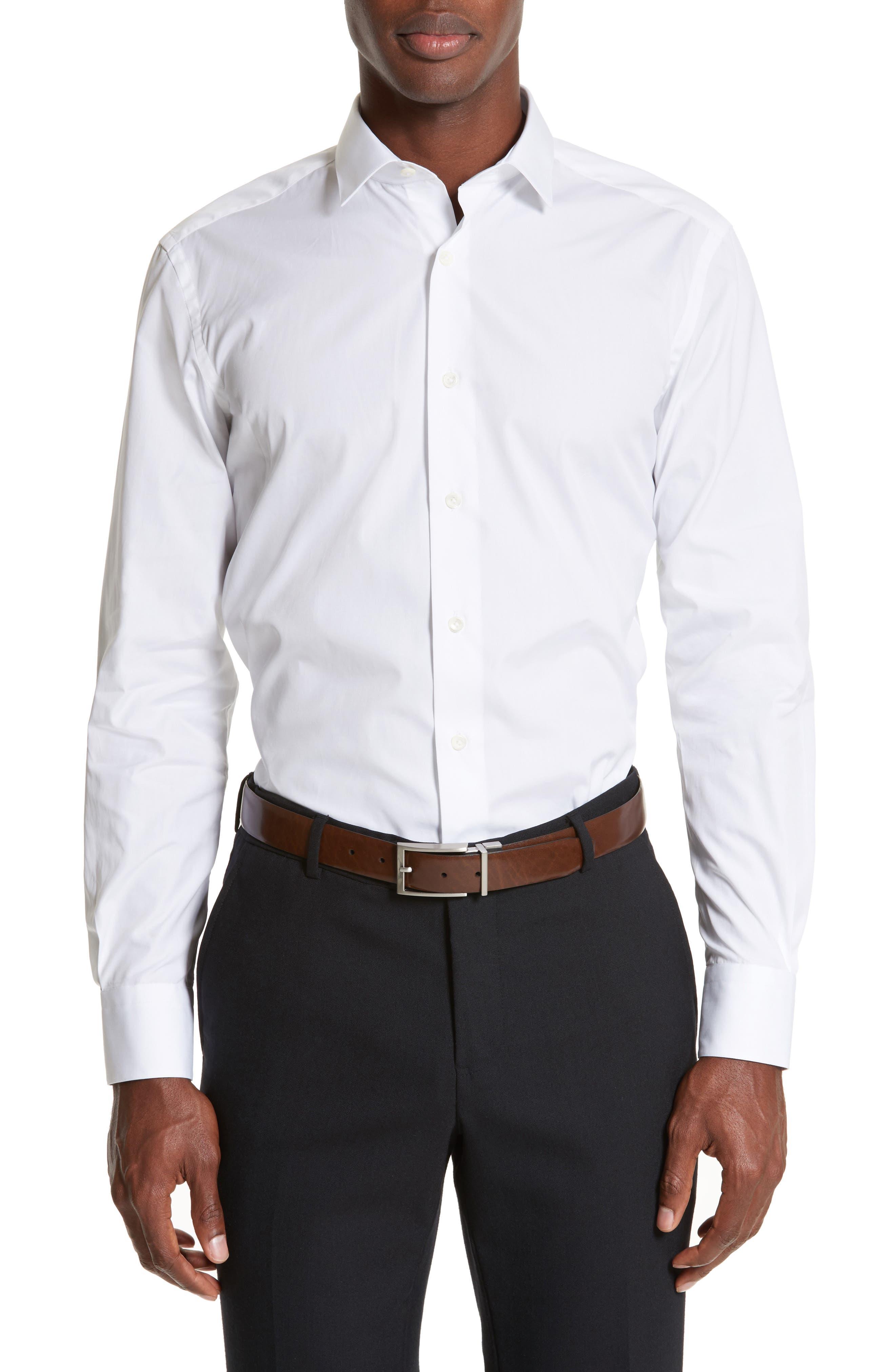 Extra Trim Fit Cotton Dress Shirt,                         Main,                         color, 100