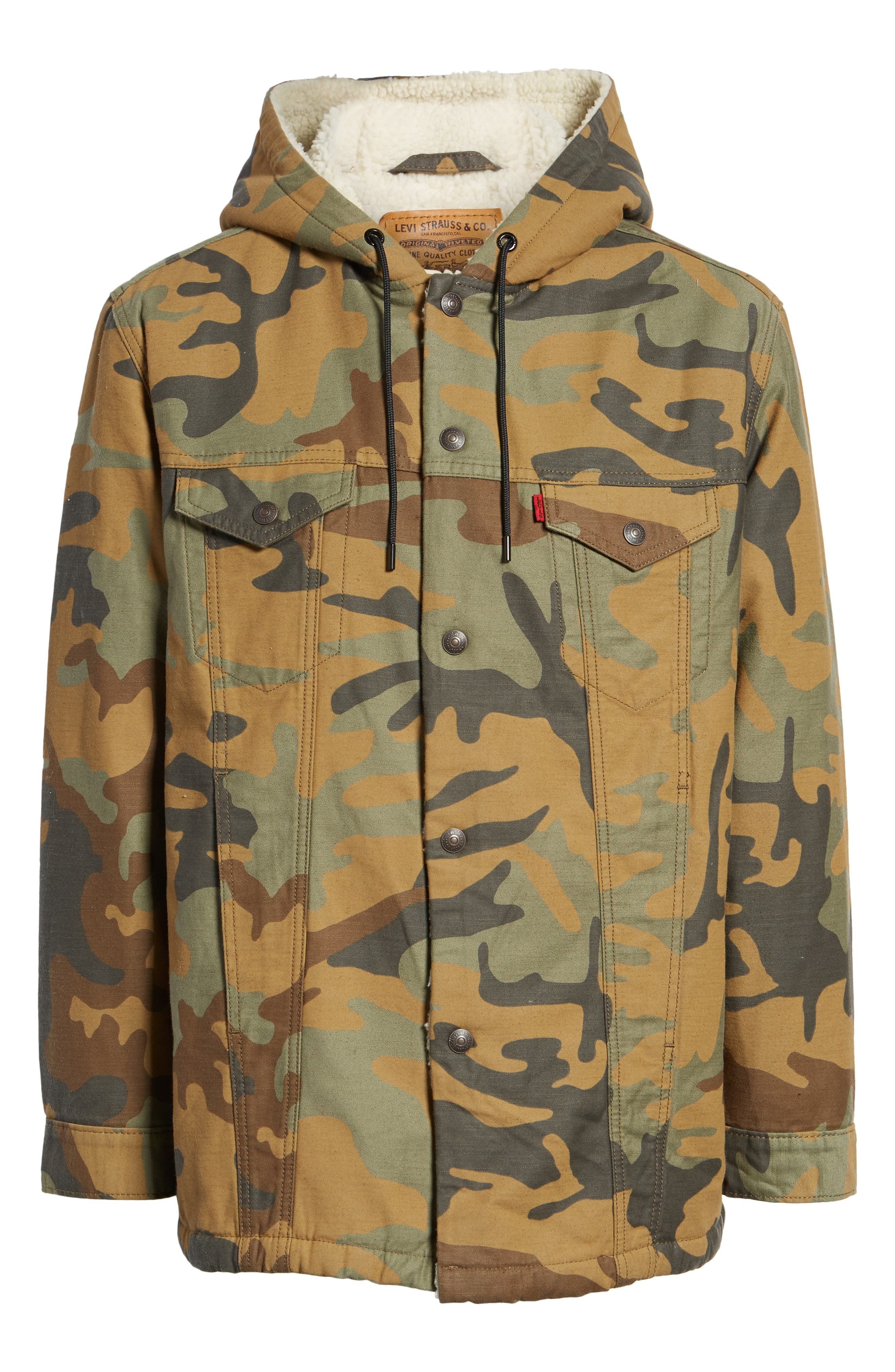 x Justin Timberlake Faux Shearling Hooded Trucker Jacket,                             Alternate thumbnail 7, color,                             CAMO