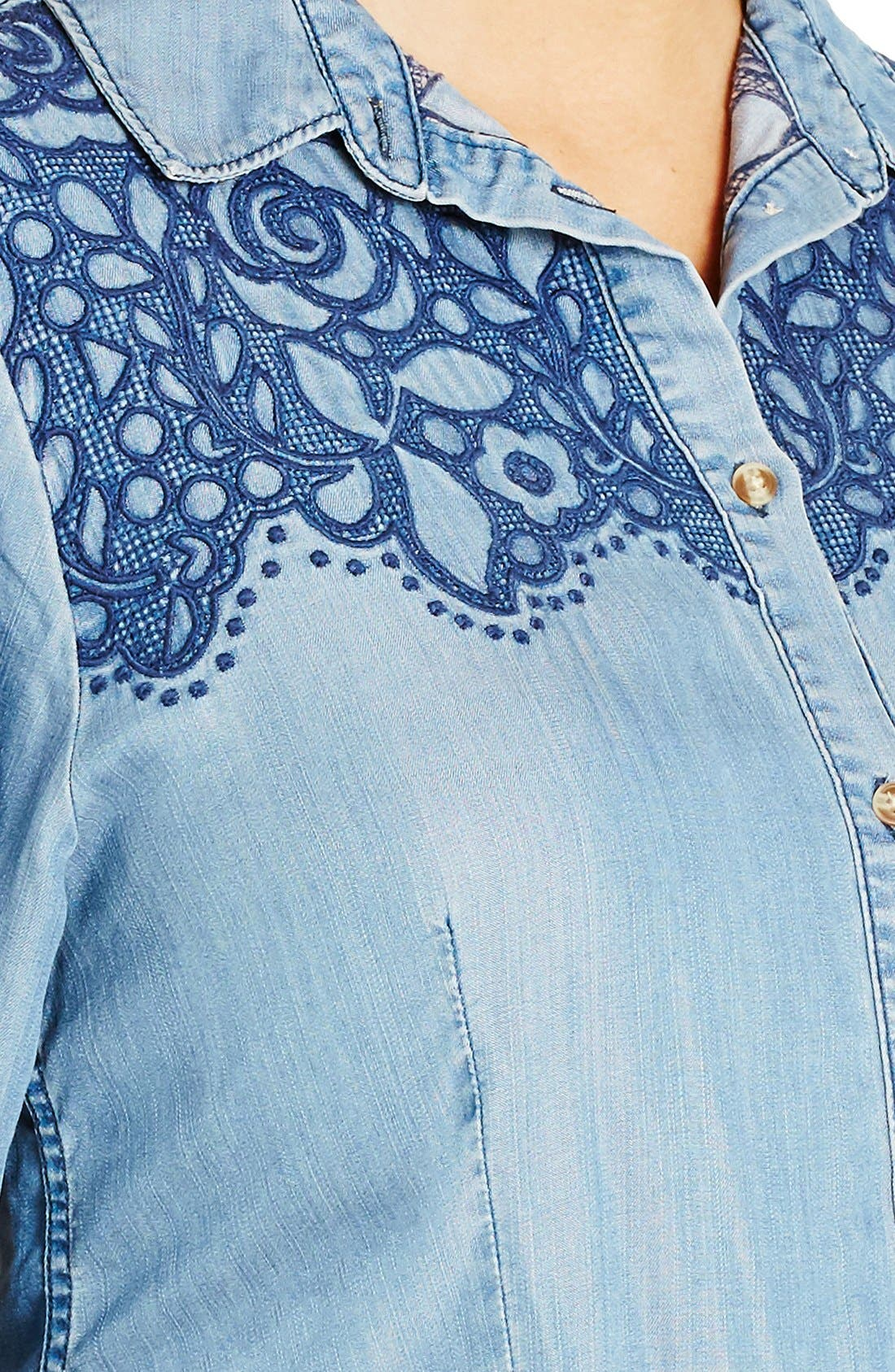 'Rodeo' Embroidered Denim Shirt,                             Alternate thumbnail 2, color,                             409