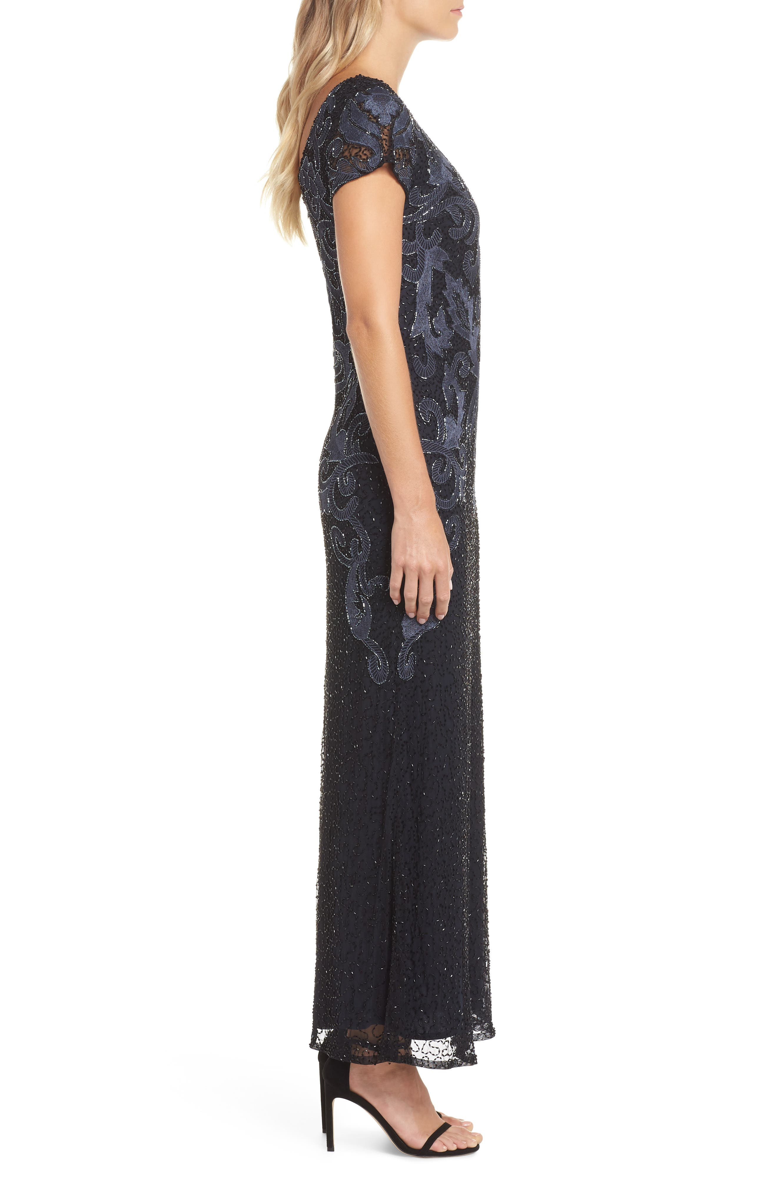 PISARRO NIGHTS,                             Embroidered Mesh Gown,                             Alternate thumbnail 4, color,                             001
